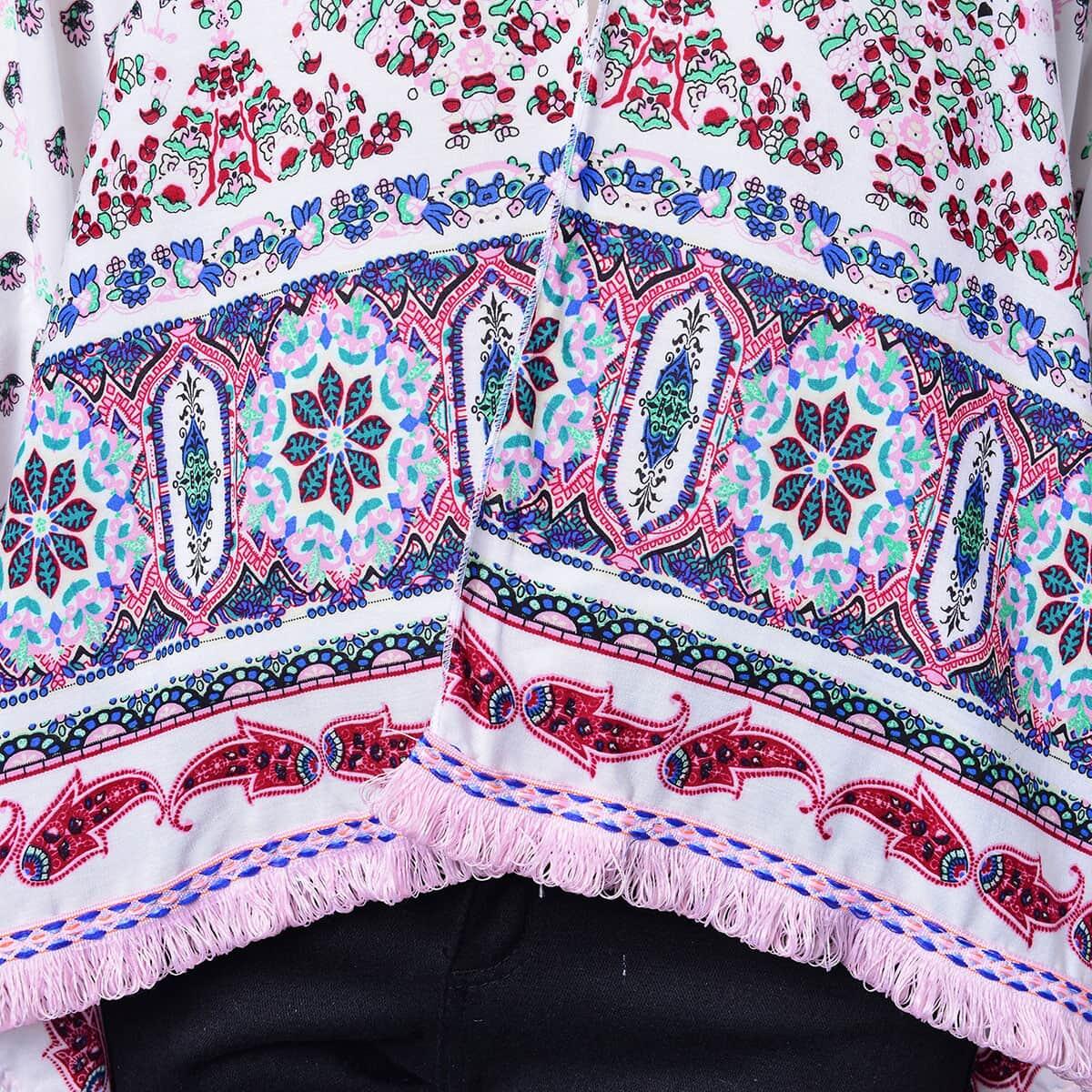 Black 100/% Viscose Flower Pattern Kimono with Pink Loop Fringe Linning