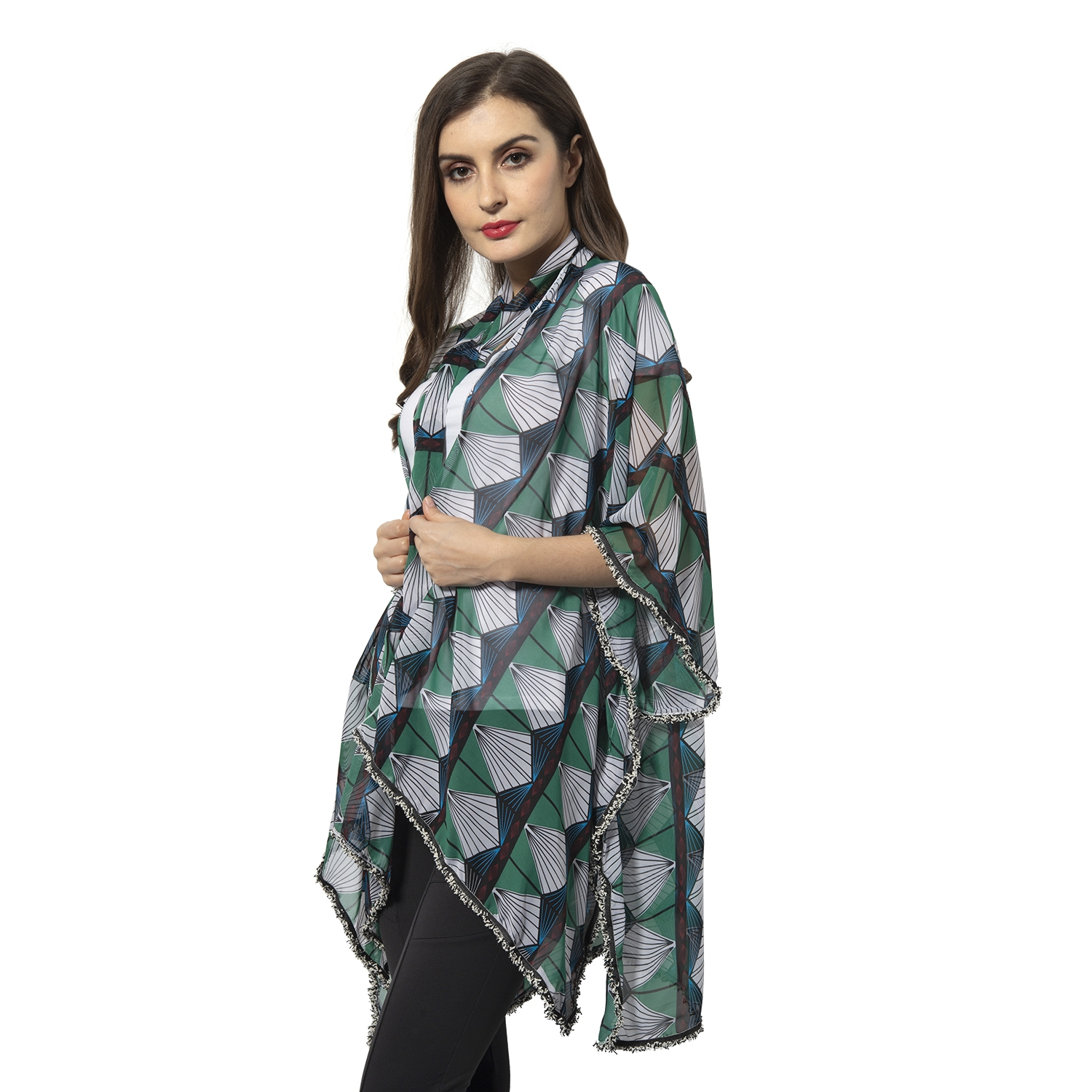 "Green 100/% Polyester Fan-shaped Pattern Scarf 56x2.5/"" and Kimono 38x28/"""