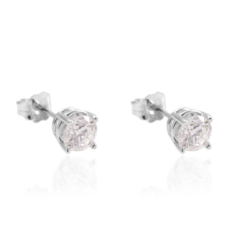14K WG Diamond Stud Earrings TDiaWt 1.00 cts, TGW 1.000 cts.