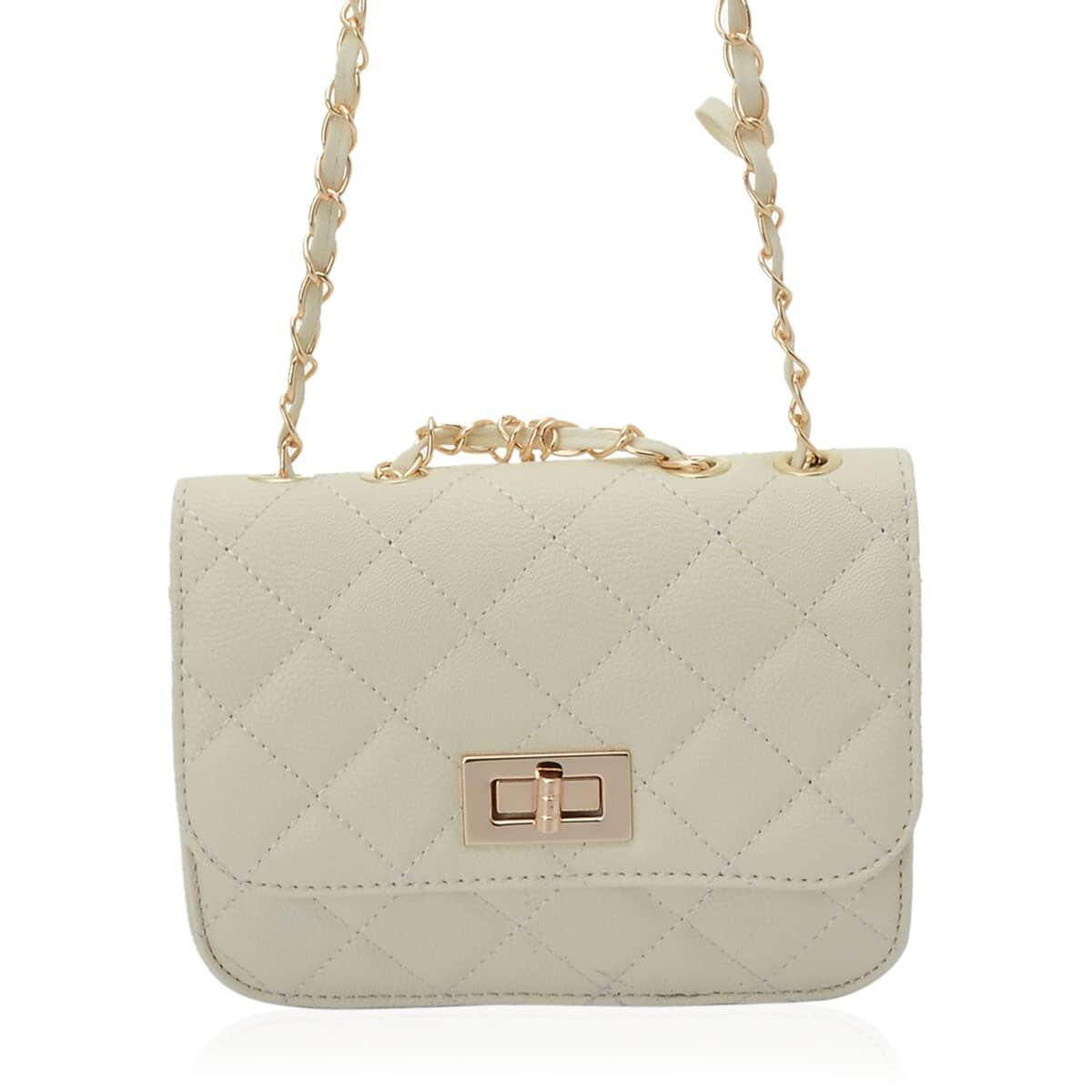 J Francis - Cream Faux Leather Crossbody Bag (7.5x2x5.5 in)