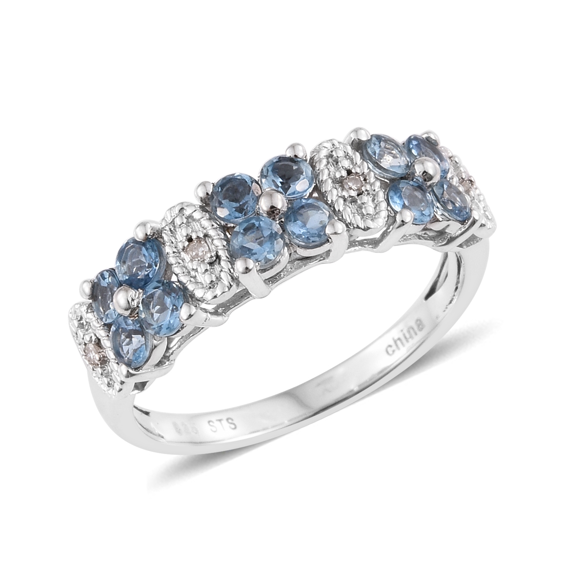 4a2c009da Aquamarine Diamond Cluster Ring Silver Gift Jewelry for Women Size 7 Cttw  0.5
