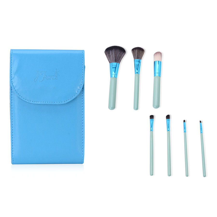 Blue Cosmetic Brush Set with Case