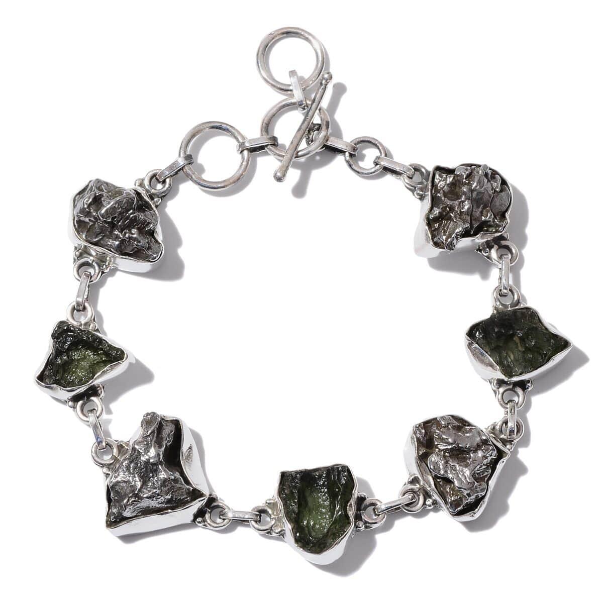 Artisan Crafted Marvelous Meteorites, Bohemian Moldavite Bracelet in  Sterling Silver Nickel Free (8 in) TGW 108 12 Cts