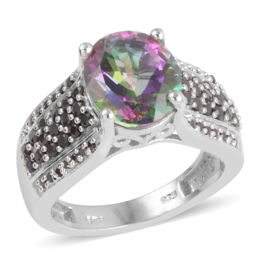 Northern Lights Mystic Topaz, Thai Black Spinel Platinum Over Sterling Silver Ring (Size 6.0) TGW 4.930 cts.