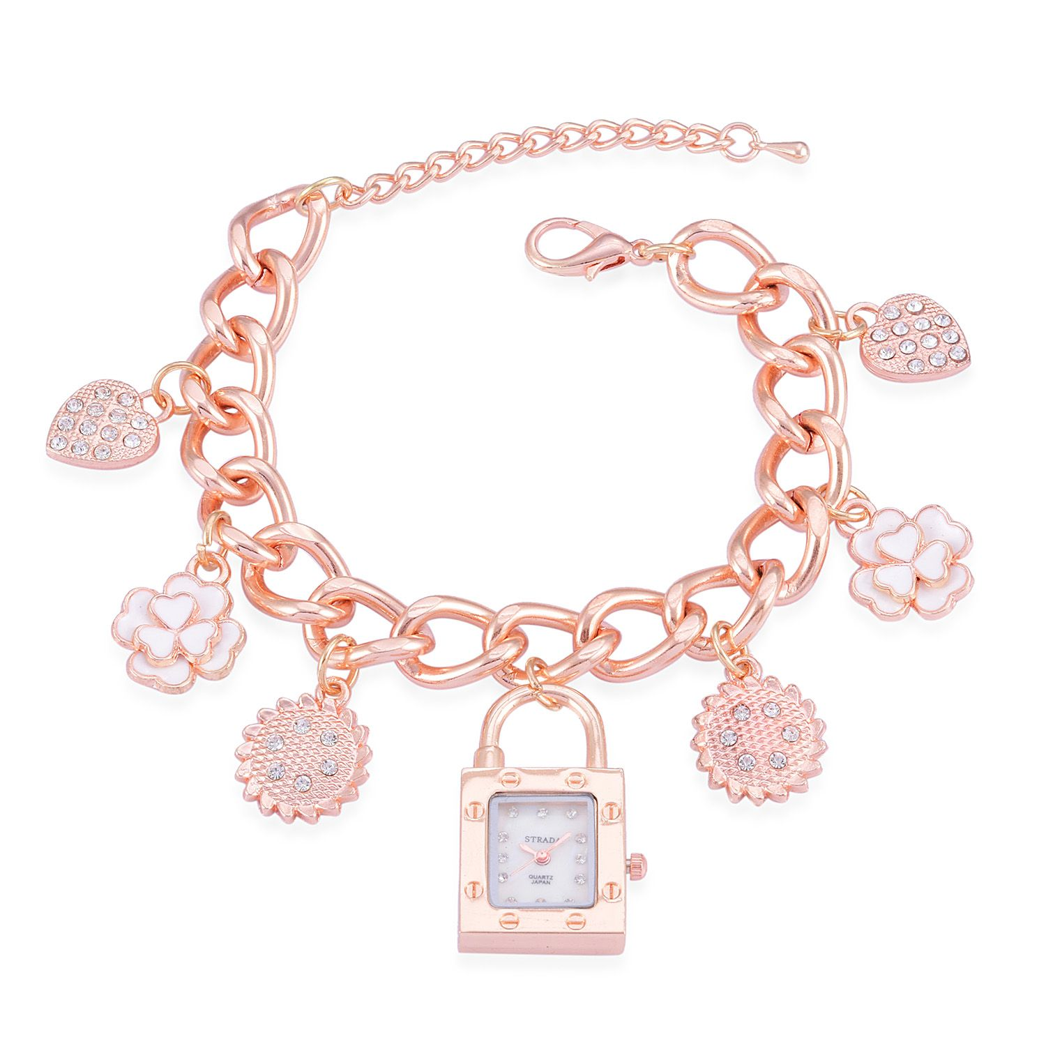 STRADA Austrian Crystal Japanese Movement Charm Watch in Rosetone (8.5-11 in)