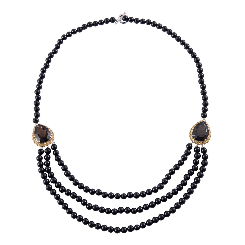 0a3a05b02012d6 Brazilian Smoky Quartz, Brazilian Citrine, Black Onyx Bead Sterling Silver  Necklace (22 in) TGW 278.250 cts. | Shop LC
