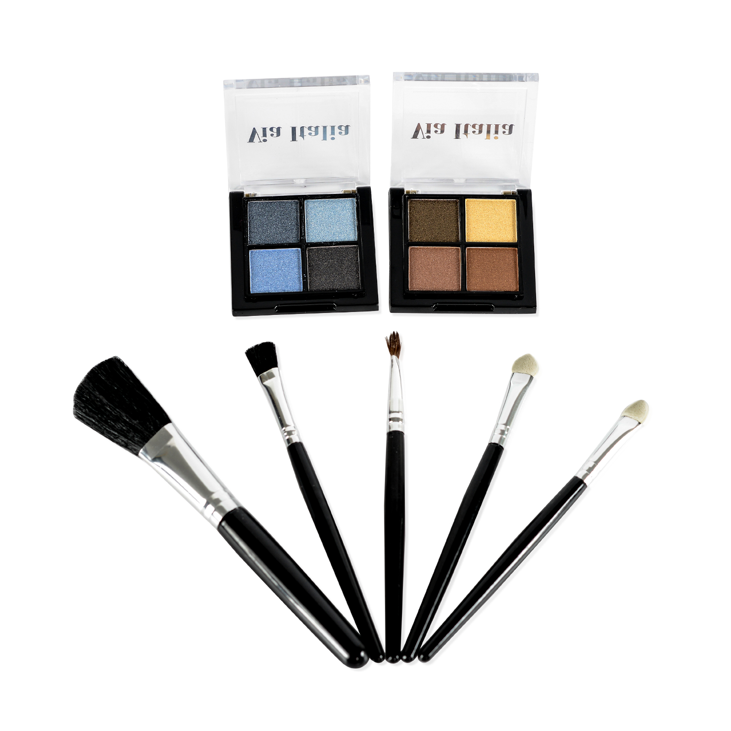 Via Italia Set of 2 Eyeshadows and Set of 5 Brushes - Natural, Midnight