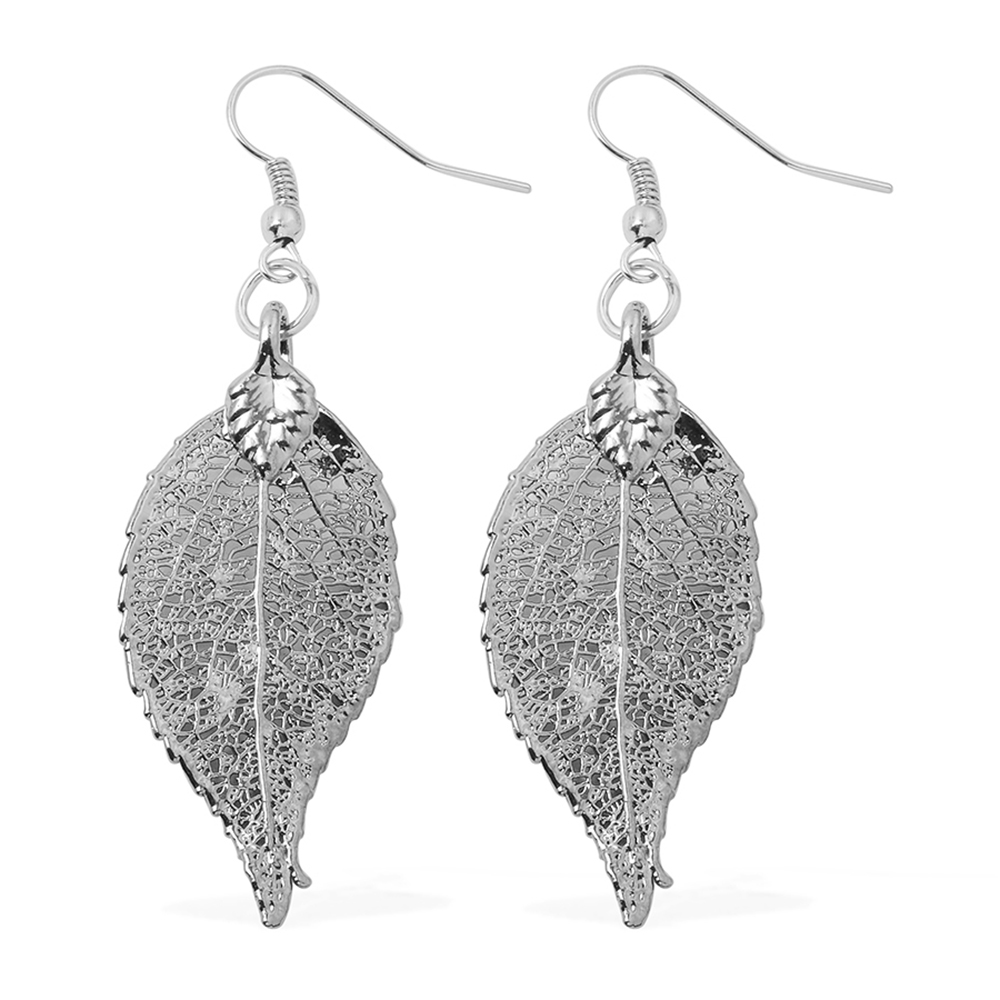 Nature's D'Or Evergreen Leaf Dipped in Platinum Earrings