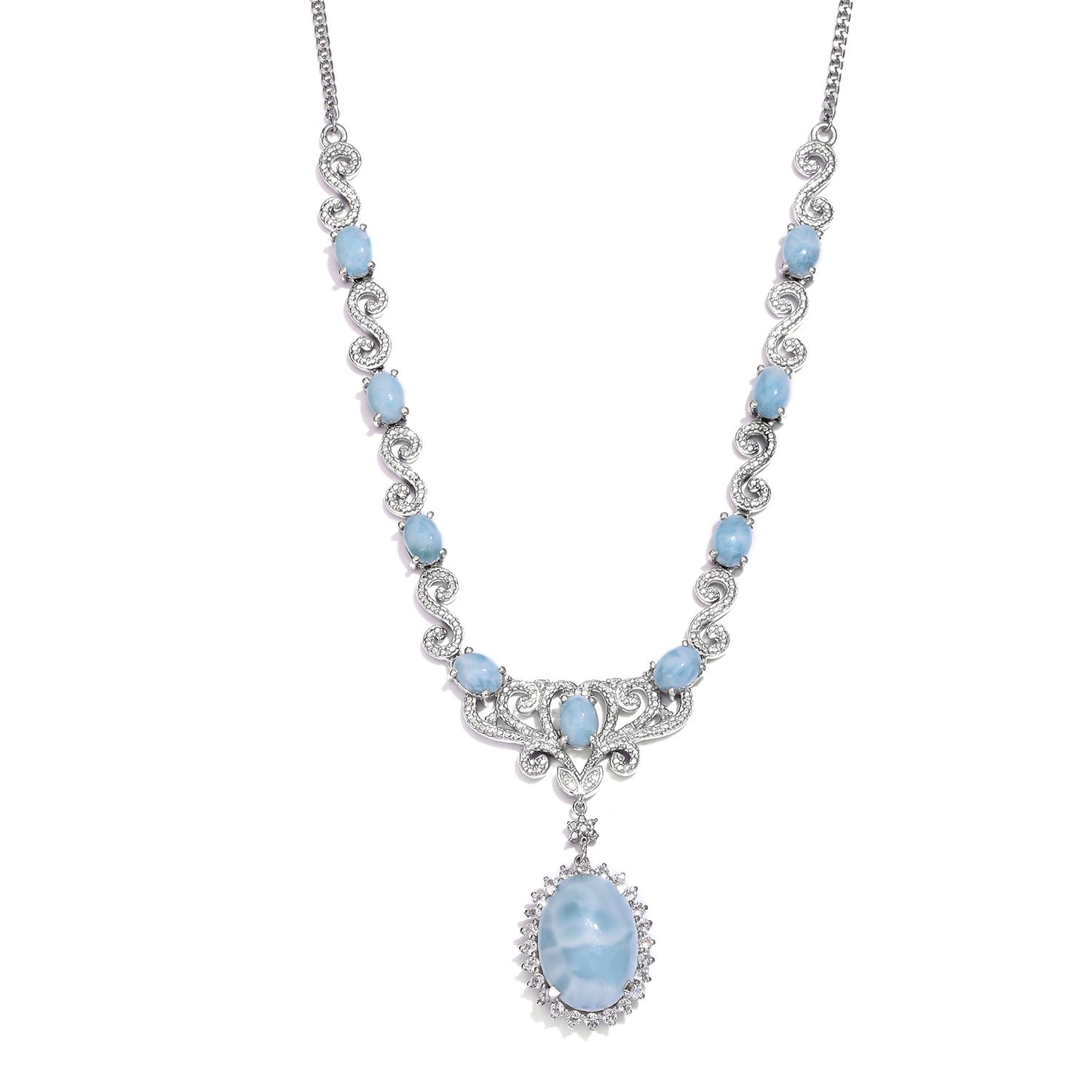 Larimar, White Topaz, Diamond Platinum Over Sterling Silver Necklace (18 in) TDiaWt 0.030Cts., TGW 25.60 Cts.