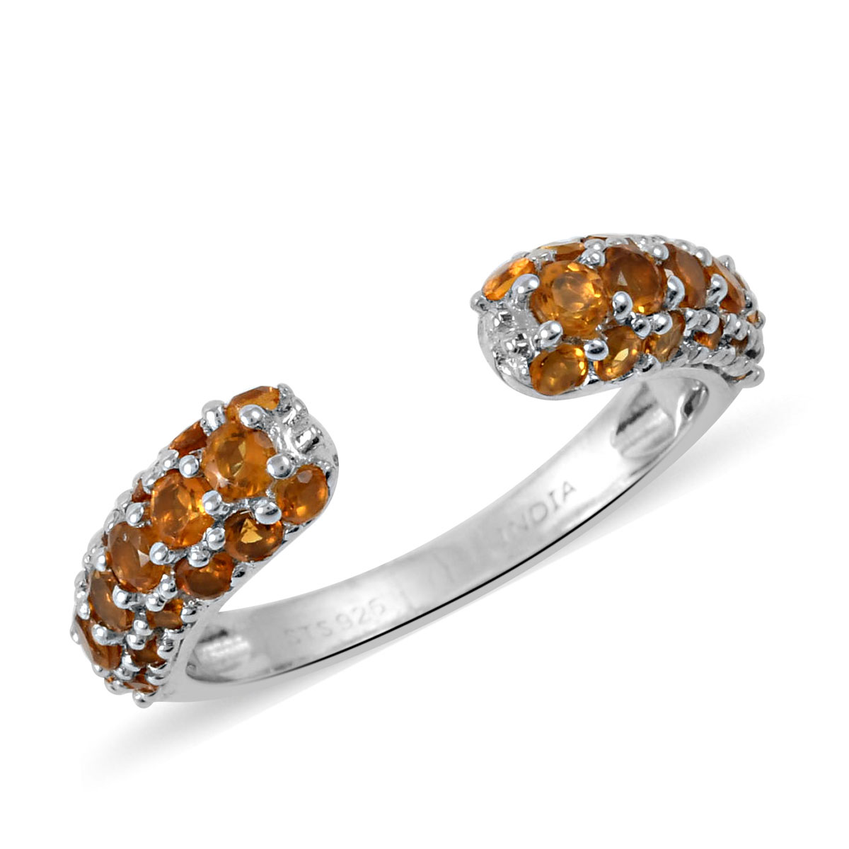 925 Sterling Silver Citrine Ring Size 7 Stud Solitaire Earrings Jewelry Gift Set