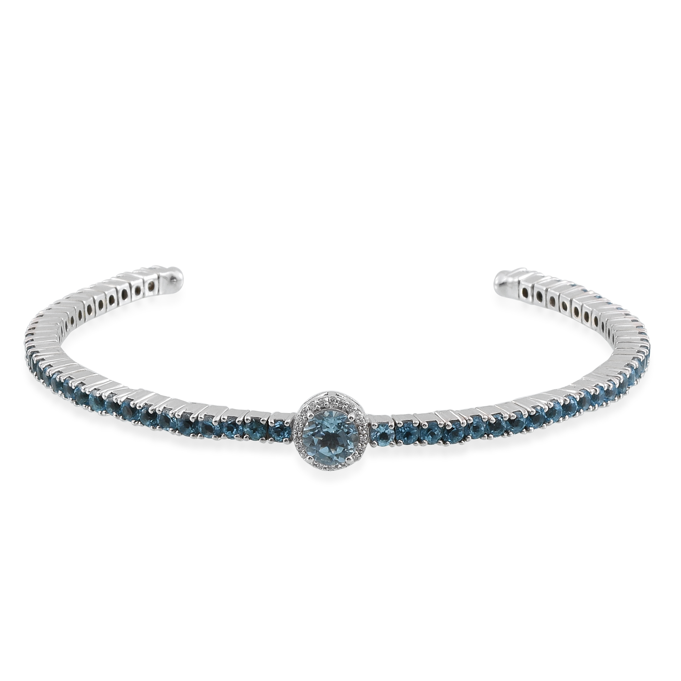 51a06ceaca6 Details about Cuff Bangle Bracelet Silver Sky Blue Topaz Gift for Women  Size 7.25