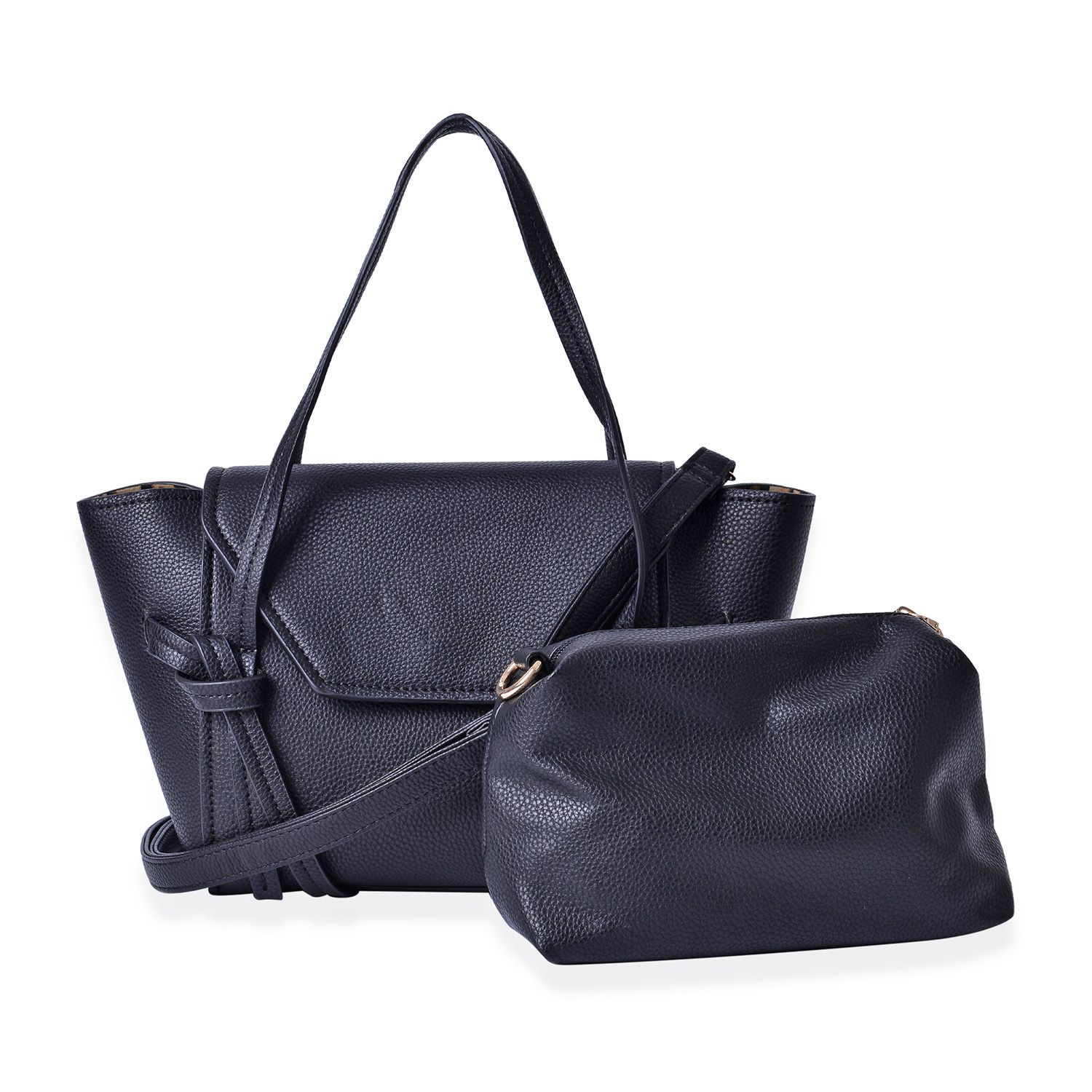cf580520c281 Black Faux Leather Tote Bag (14.5x5x8.5 in) and Crossbody Clutch Bag  (8x3x5.5 in)