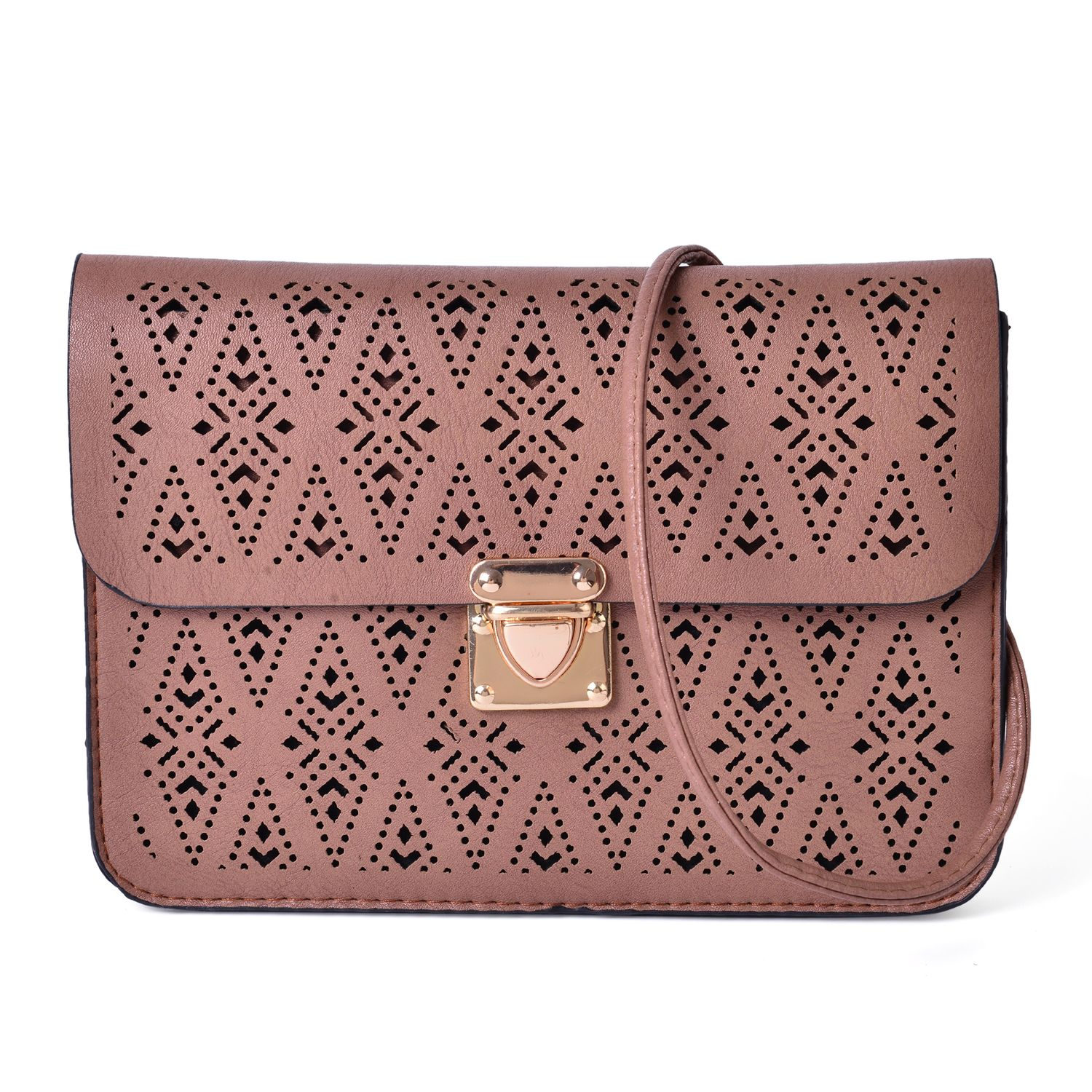 Brown Faux Leather Openwork Flap Over Crossbody Clutch Bag (8x6 in)