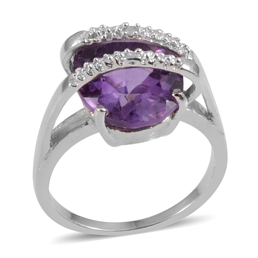 e8e0a4561d08f Amethyst, Diamond Accent Sterling Silver Solitaire Brige Ring (Size 5.0)  TGW 4.02 cts.