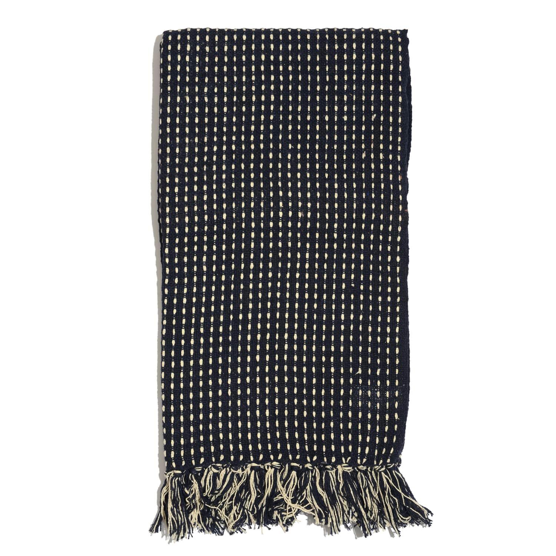 Navy Blue Stitched Pattern 100% Cotton Throw (50x60 In)