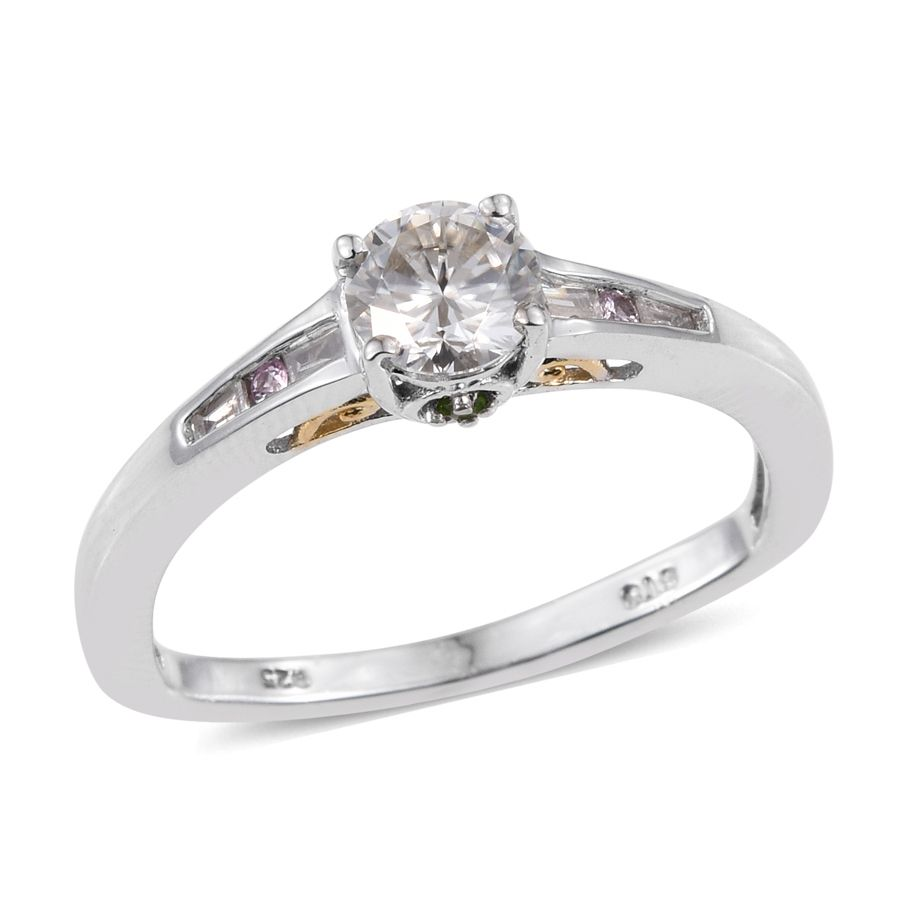 Moissanite, Multi Gemstone, Diamond 14K YG and Platinum Over Sterling Silver Ring (Size 10.0) TGW 0.92 cts.