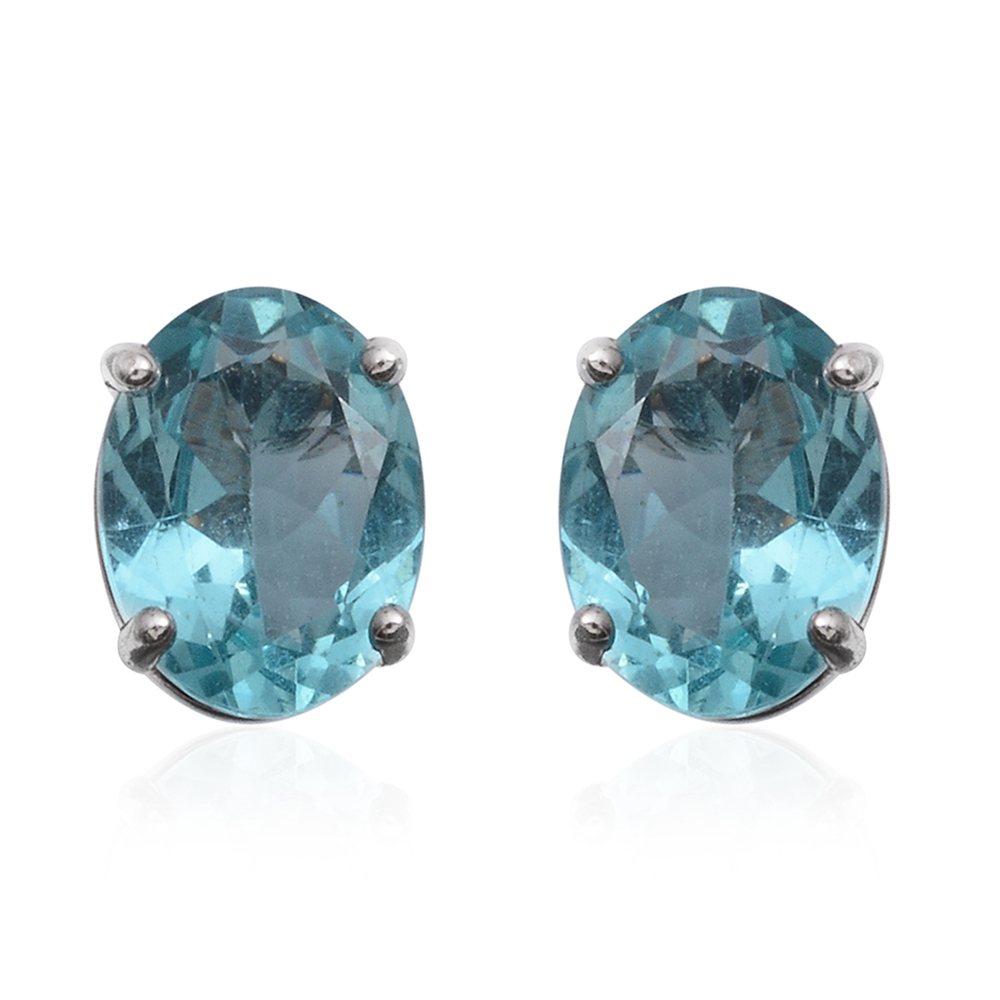 41b060f10 14K WG Madagascar Paraiba Apatite Oval Stud Earrings TGW 2.25 cts. | Shop LC