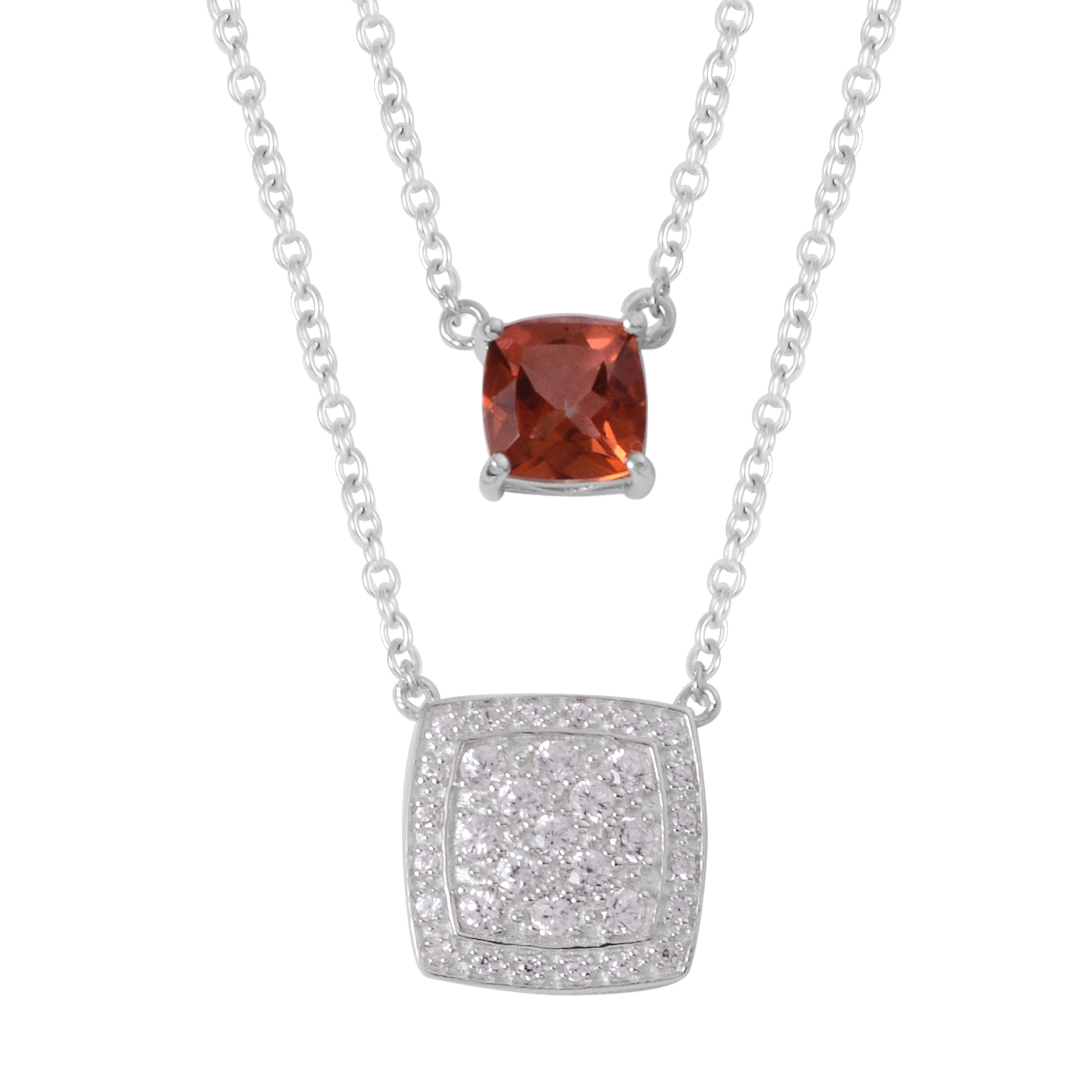 5 Colors 925 Silver Gemstone /& White Topaz Necklace