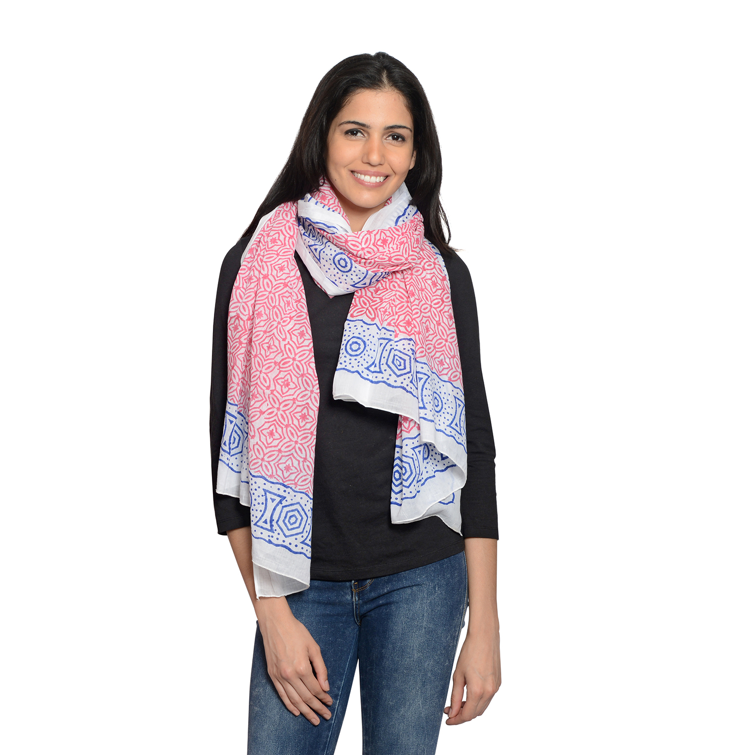 073e75a5fc8 Rose Red and Blue 100% Cotton Floral Geometric Pattern Hand Painted Scarf  (70x44 in)