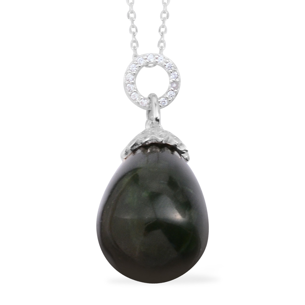 Nephrite Jade, Simulated White Diamond Sterling Silver Pendant With Chain  (18 in) TGW 31 300 Cts