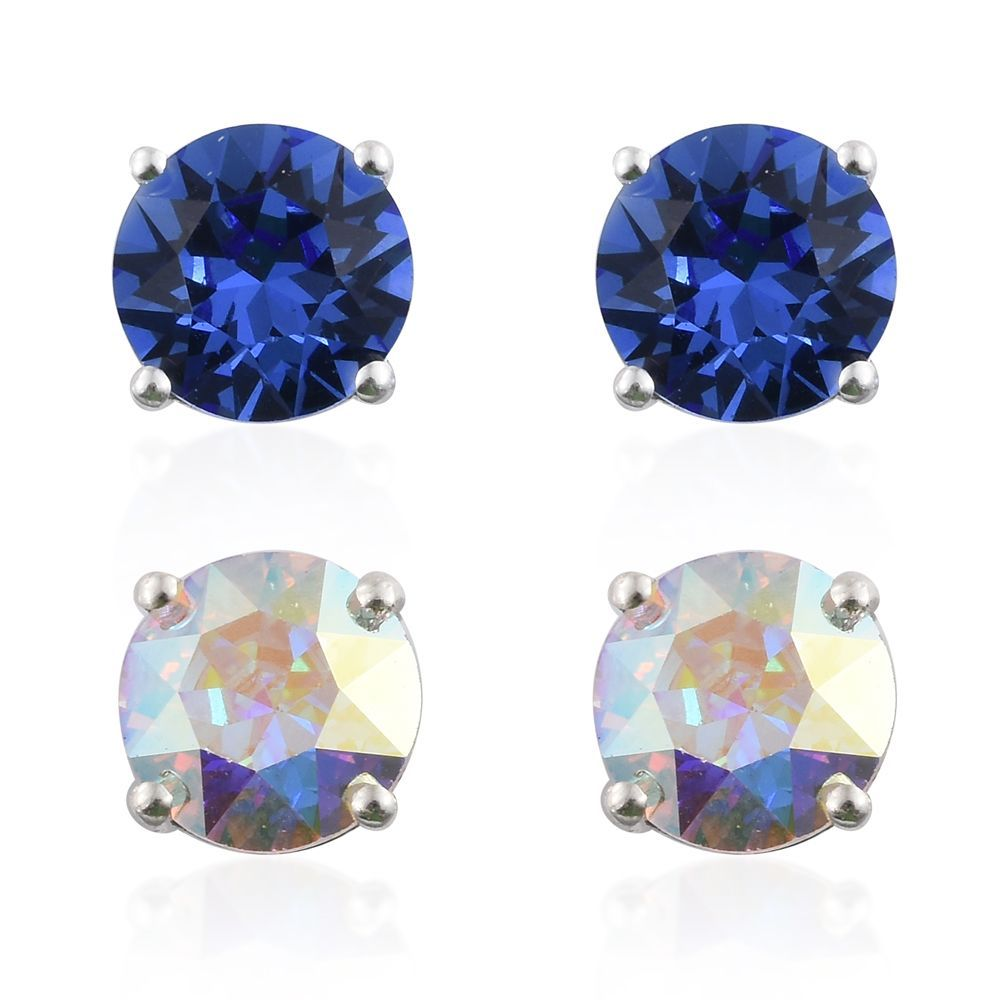 Sterling Silver Set Of 2 Stud Earrings Made With Swarovski Aurora Borealis And Blue Crystal Lc