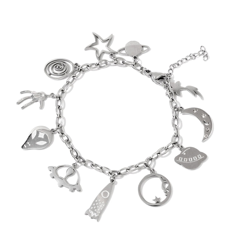 Austrian Crystal Stainless Steel Galaxy Charm Bracelet (6.50 In)