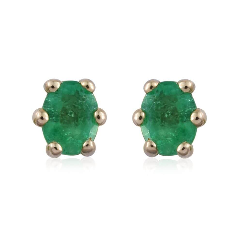 a28f1e3e0 14K YG Boyaca Colombian Emerald Stud Earrings TGW 0.36 cts.   Shop LC