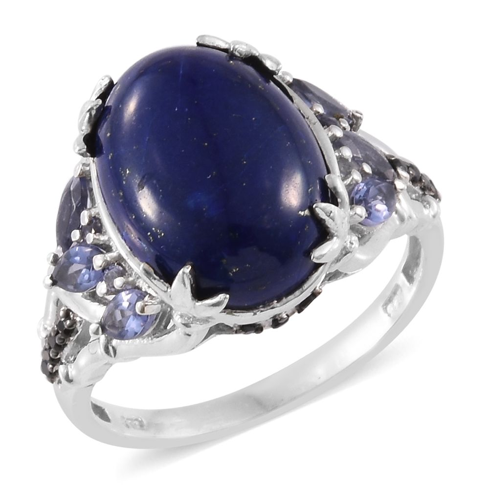 6c48b3a4c Lapis Lazuli, Catalina Iolite, Thai Black Spinel Platinum Over Sterling  Silver Ring (Size 7.0) TGW 10.76 cts. | Shop LC