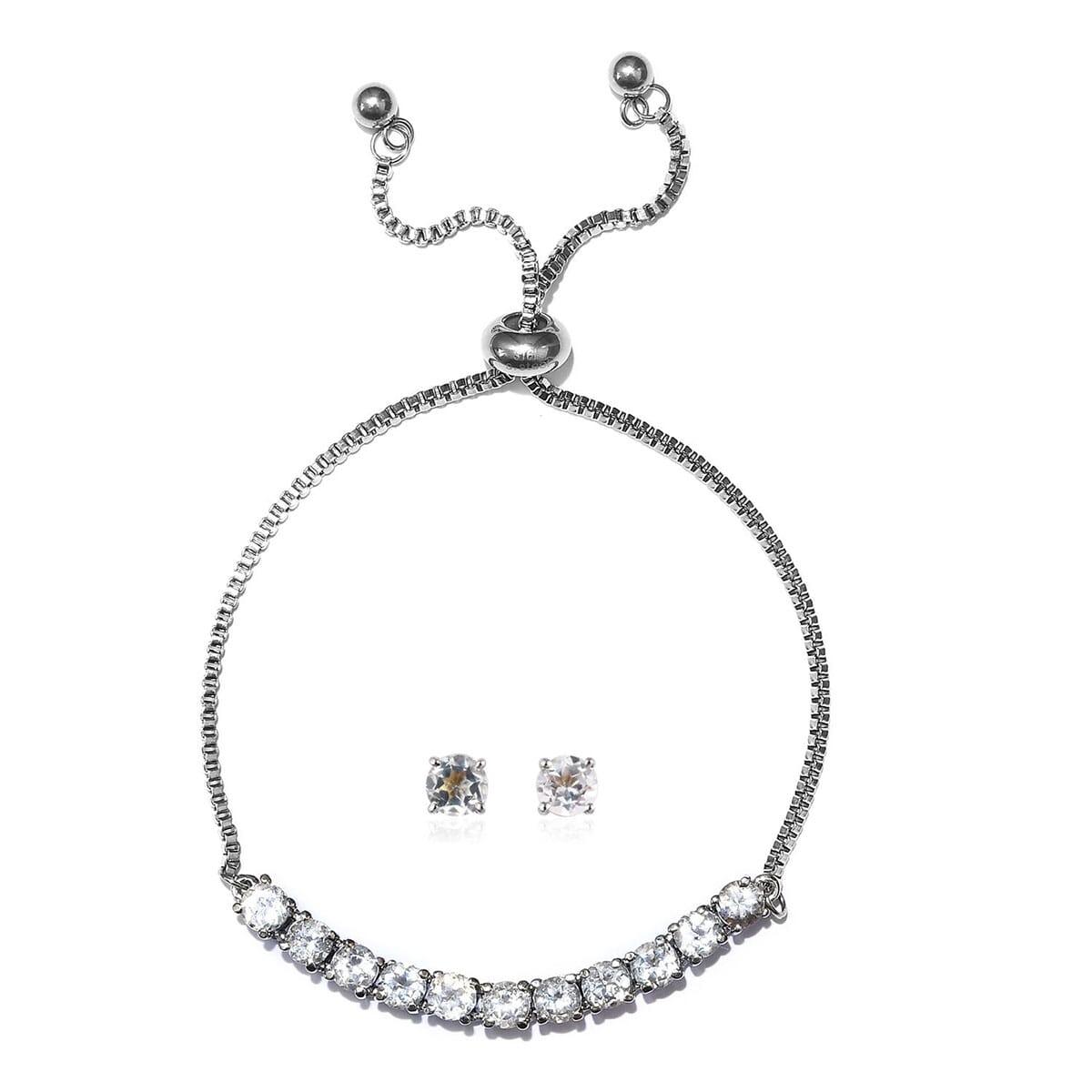 2b50cc7ec2268 Details about White Topaz Bolo Slider Bracelet Solitaire Earrings Set Steel  Jewelry