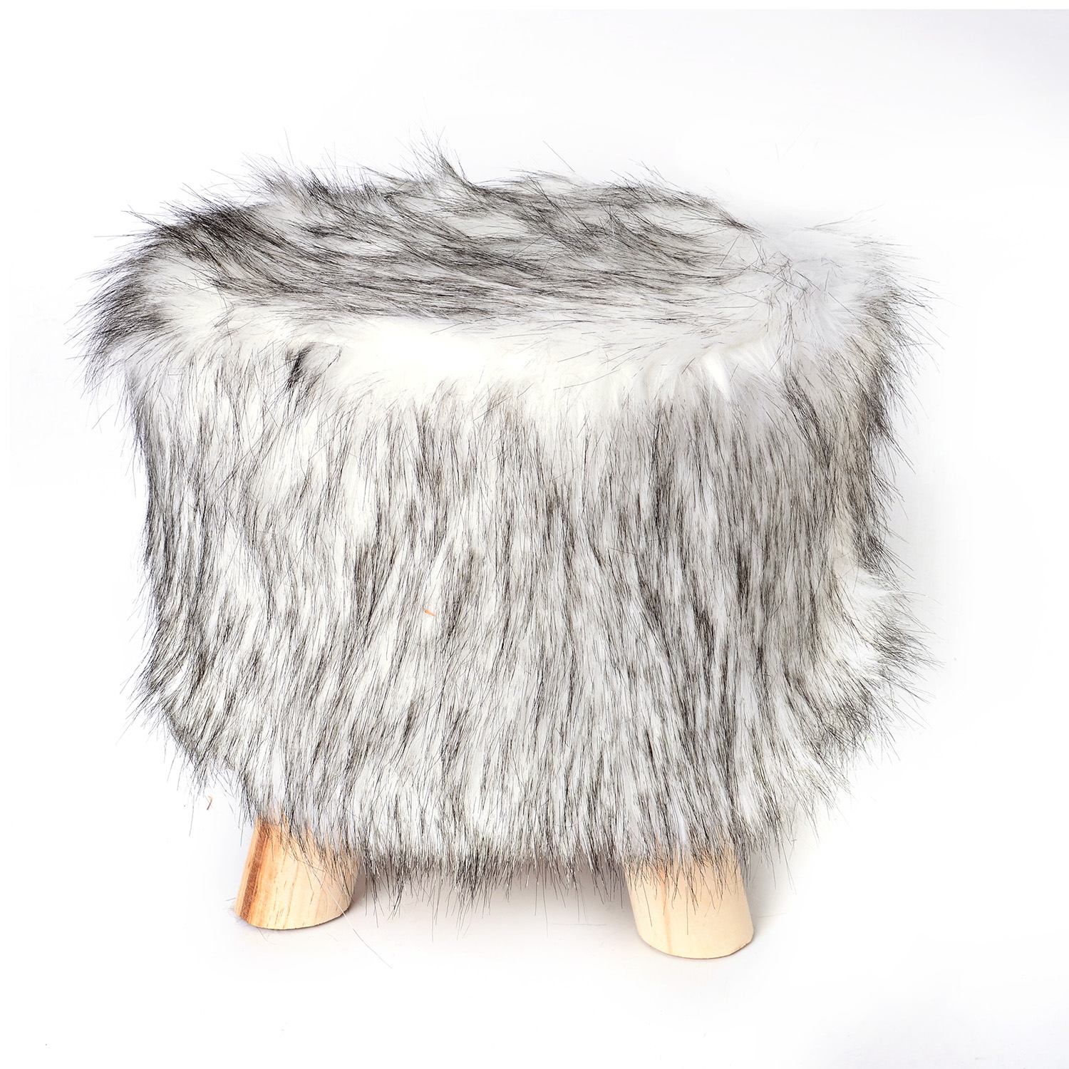 Brilliant Round White Faux Fur And Wooden Stool 10 In Cjindustries Chair Design For Home Cjindustriesco