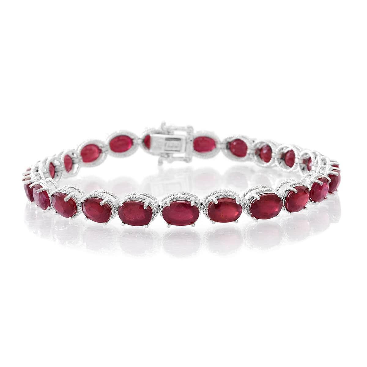 Niassa Ruby Bracelet in Sterling Silver (7.50 In) (9.5 g) 24.00 ctw