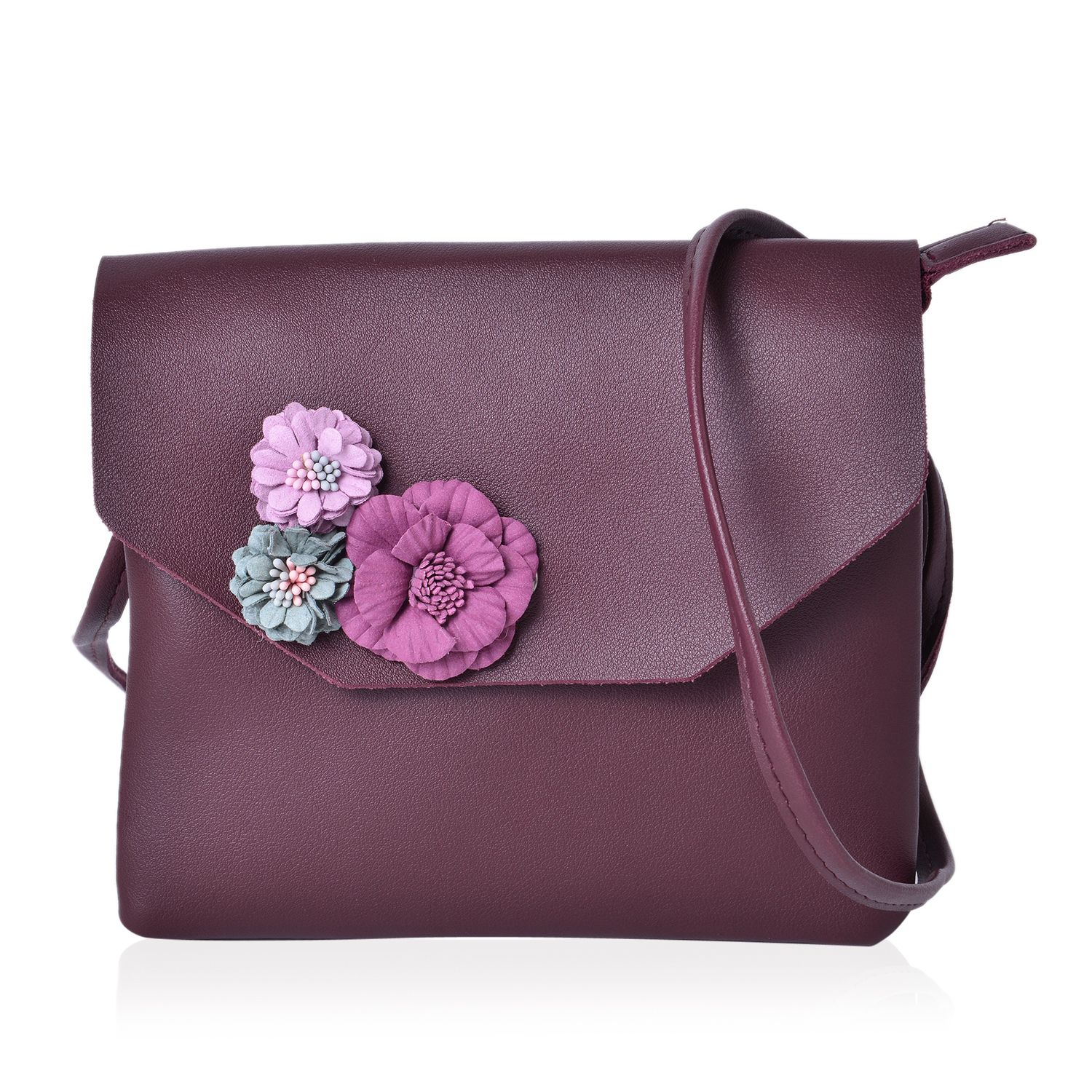 Burgundy Faux Leather 3D Floral Crossbody Bag (7.5x6.5 in)