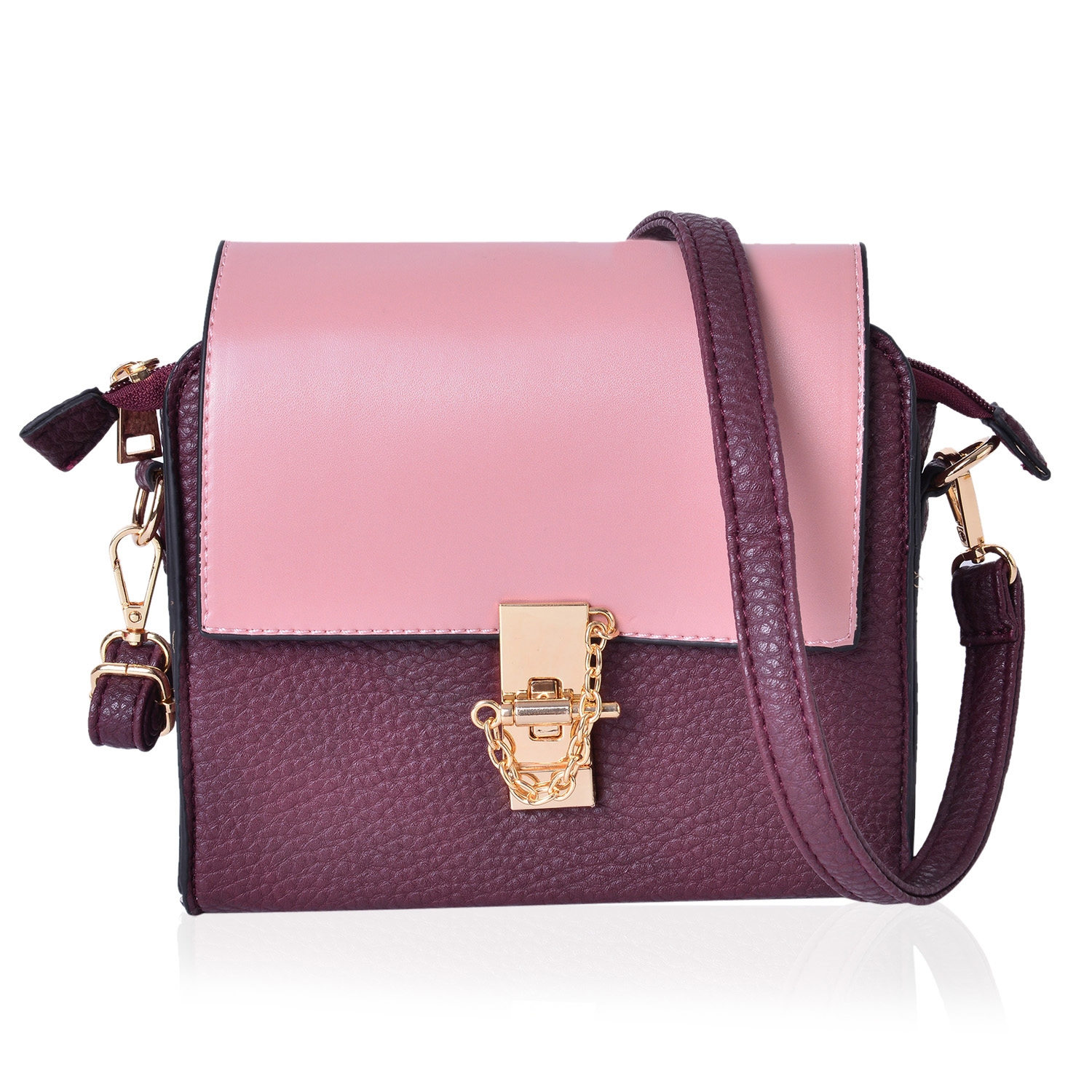 Pink and Plum Faux Leather Crossbody Bag with Zipper Closure (8x3x7 in)