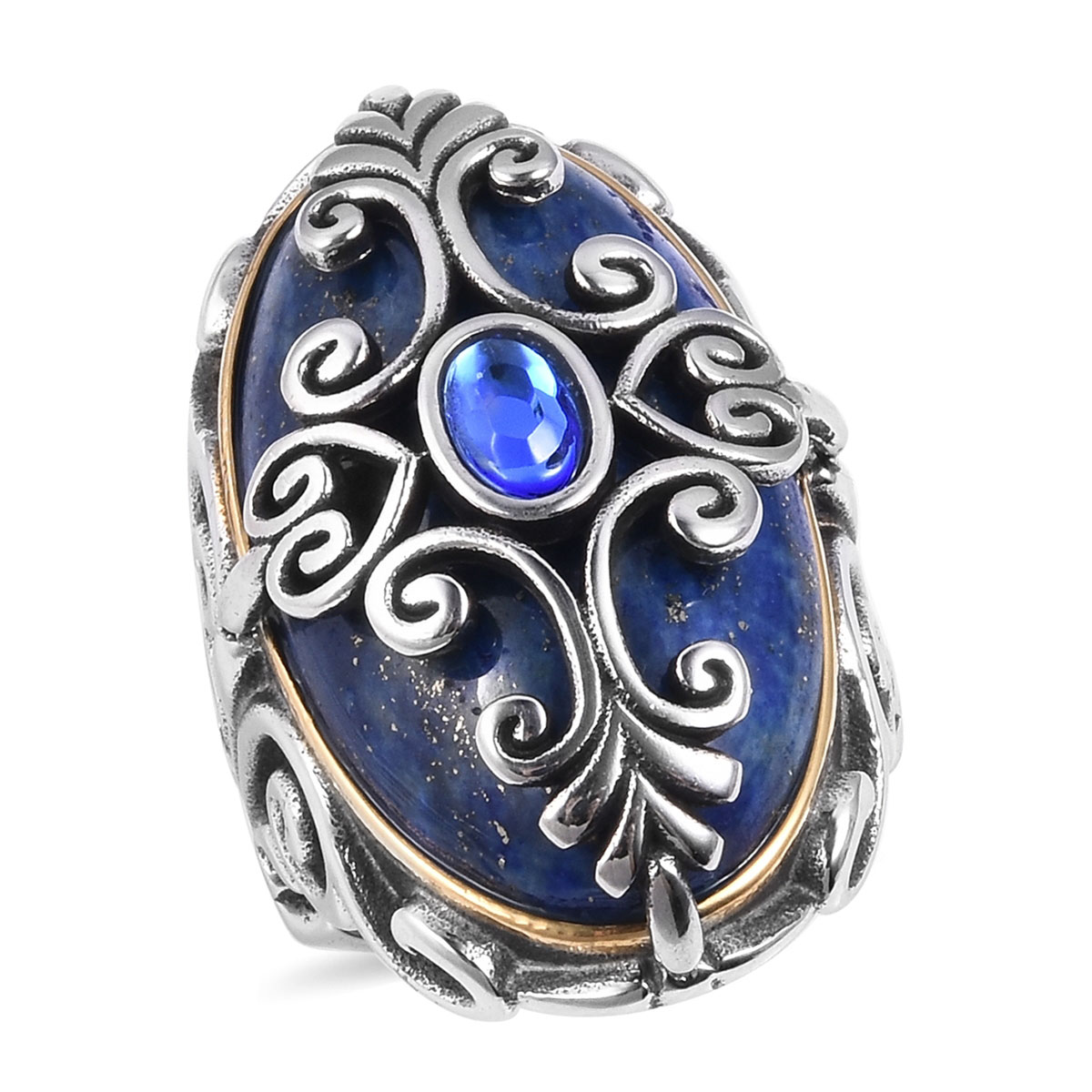 Shop LC Delivering Joy Statement Ring Stainless Steel Round Lapis Lazuli Jewelry for Women Size 8