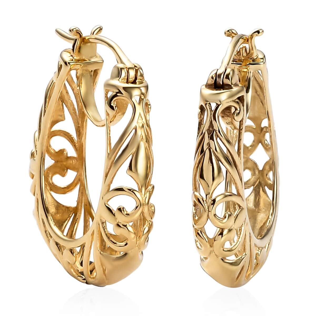 ce5fac0769b10 KARIS - Openwork Basket Hoop Earrings in ION Plated 18K YG Over Brass