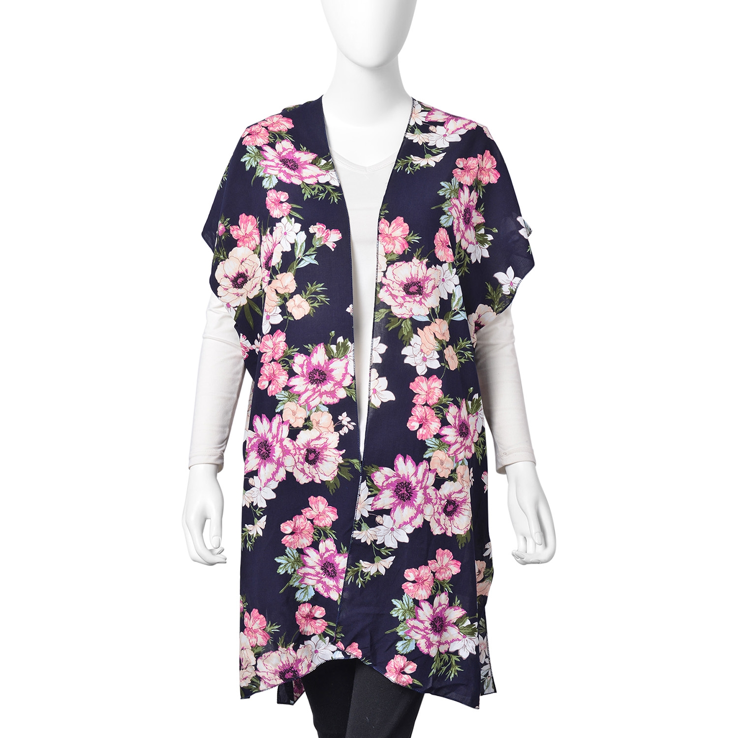 b628a4138 Black 100% Viscose Multi Color Flower Print Open Sleeveless Cardigan (One  Size) | Shop LC