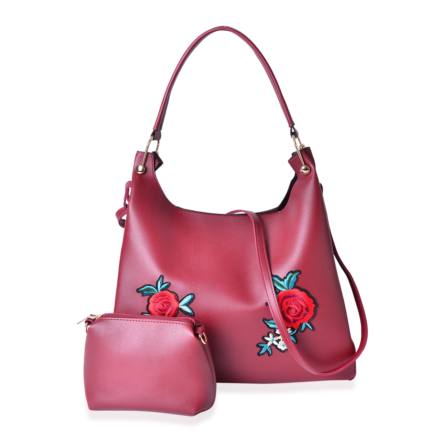 b61fbf8751c Maroon Faux Leather Eye-Catching Floral Embroidery Tote Bag (15x5x12 in)  with Matching Pouch (9x3x6 in) | Shop LC
