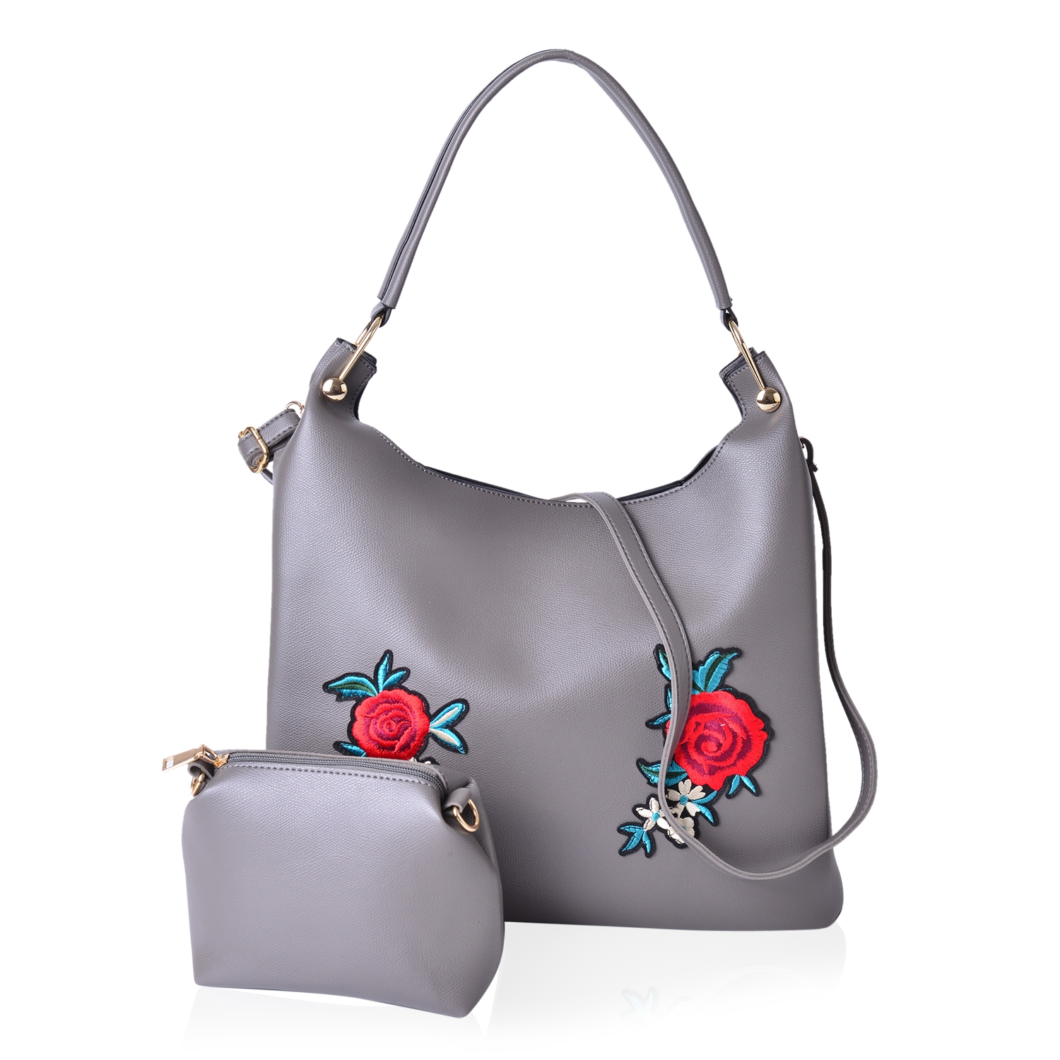 13fb9ea45f2 Gray Faux Leather Eye-Catching Floral Embroidery Tote Bag (15x5x12 in) with  Matching Pouch (9x3x6 in) | Shop LC
