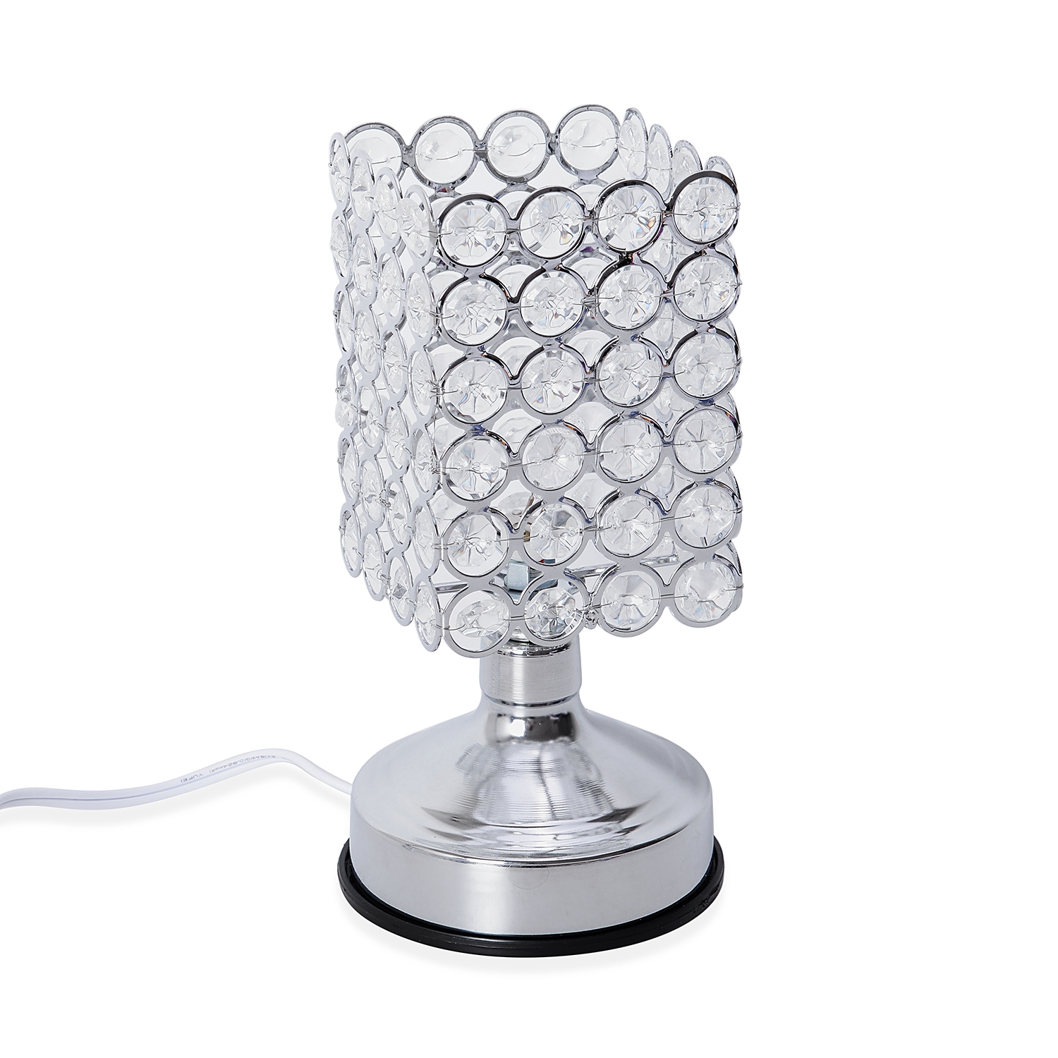 3 Stage Touch Dimmer Silvertone Square Shape Table Lamp 8 1x3 5 In