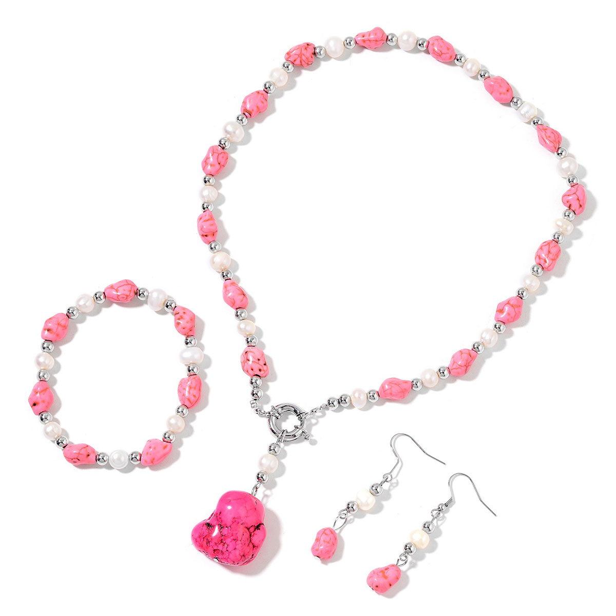 11d7cb1926e32 Pink Howlite, Freshwater Pearl Silvertone Bracelet (Strechable), Earrings  and Beaded Station Necklace With Removable Drop Charm (18.00 In) Total Gem  ...