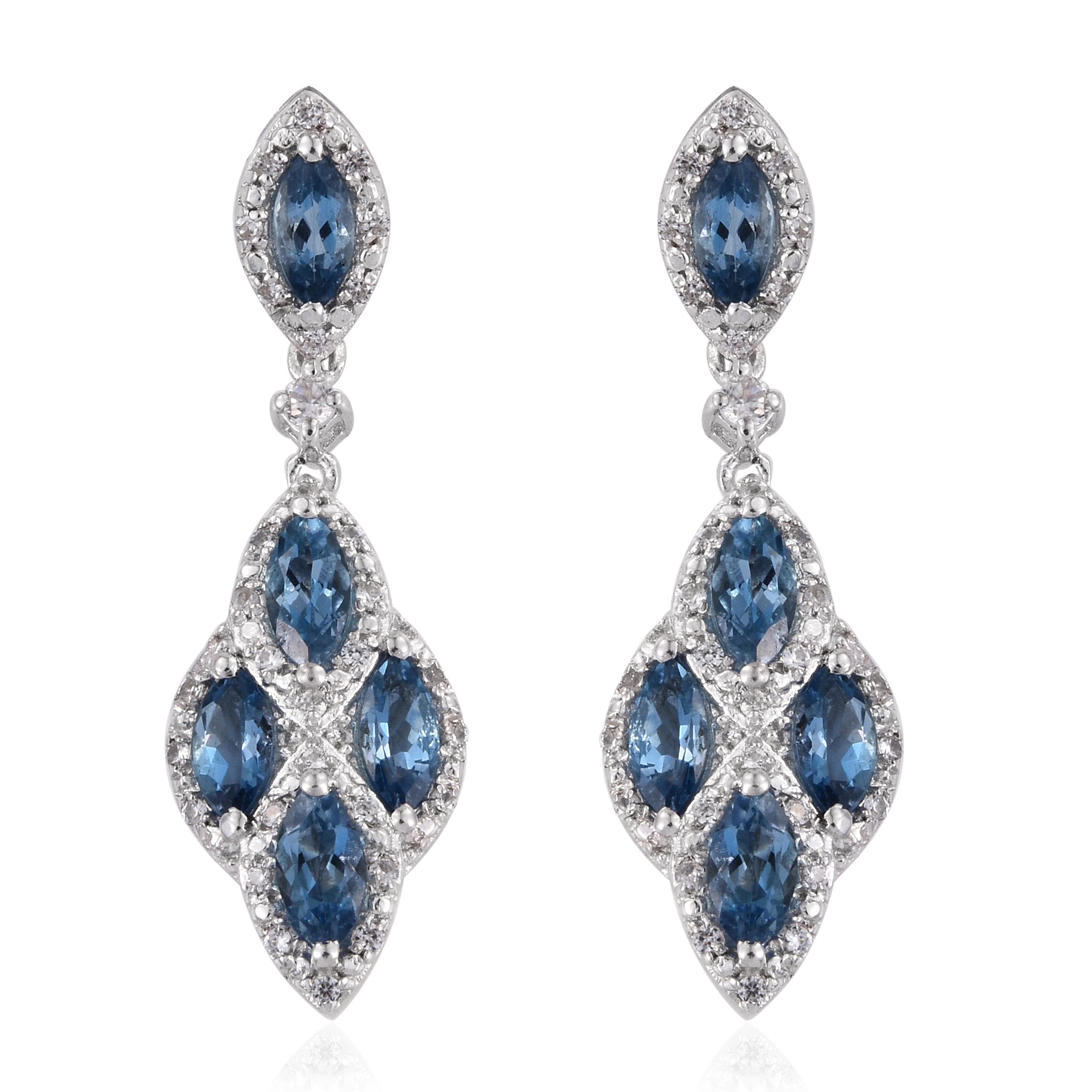 Details About 925 Sterling Silver Marquise Aquamarine Zircon Dangle Drop Earrings Jewelry