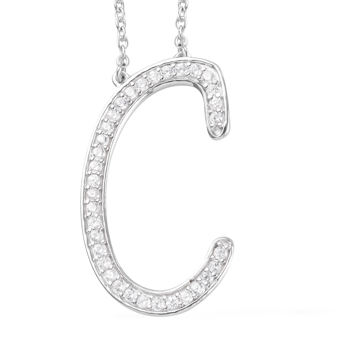 Initial C Necklace Featuring Cambodian White Zircon in Platinum Over Sterling Silver (20 in) 0.85 ctw