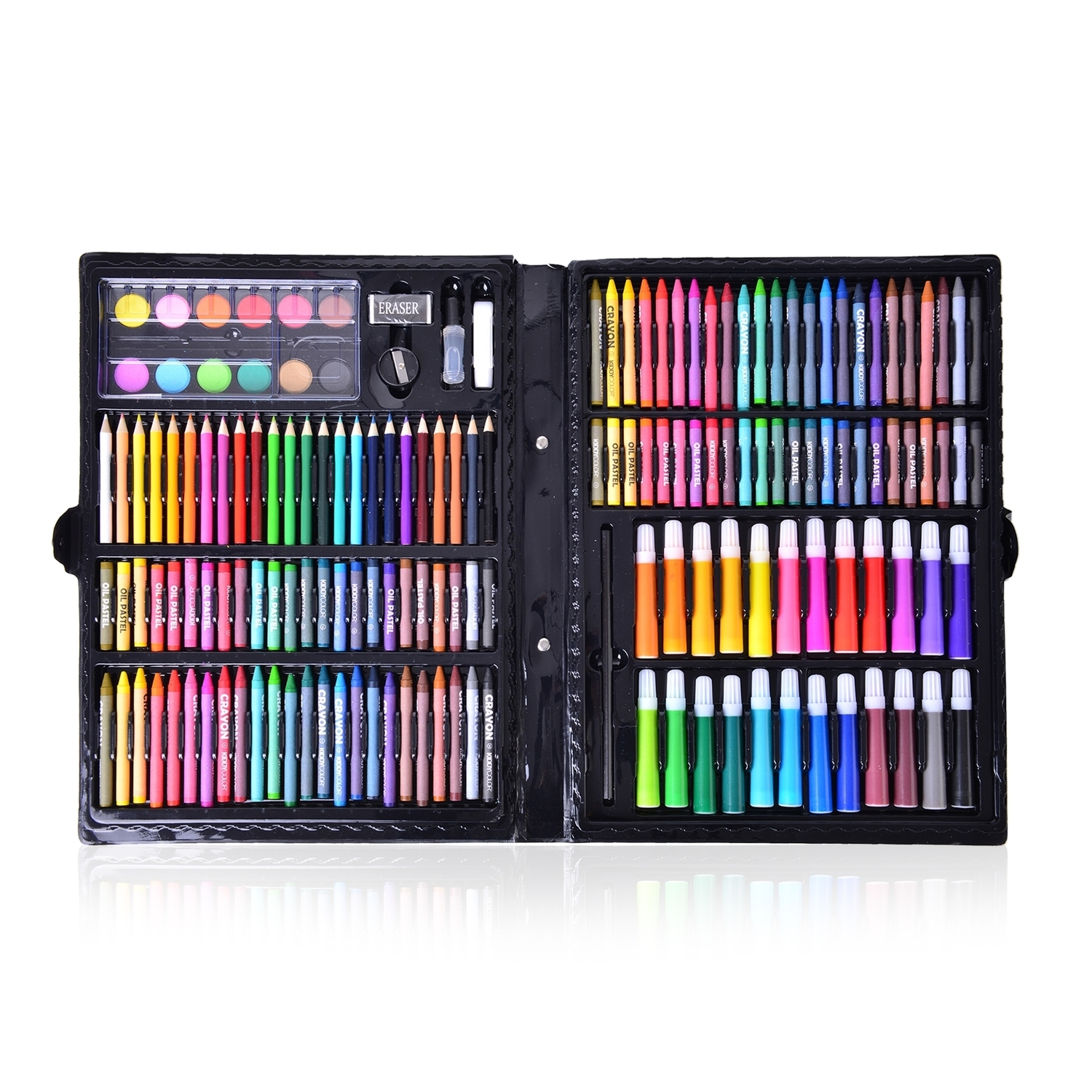 150 Piece Deluxe Art Supply Set Coloring Pencils Crayons Oil Pastels Markers Water Paint Eraser Pencil Sharpener Liquid Glue And White