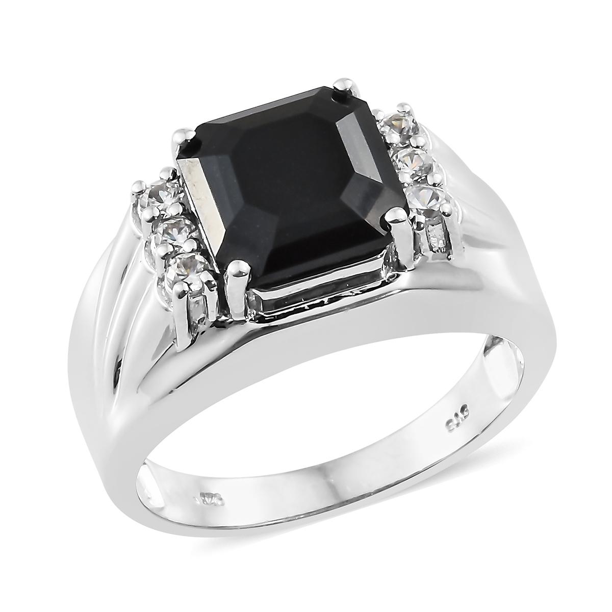 bc357d8103d19 Asscher Cut Australian Black Tourmaline, Cambodian Zircon Platinum Over  Sterling Silver Men's Ring (Size 12.0) TGW 7.32 cts.