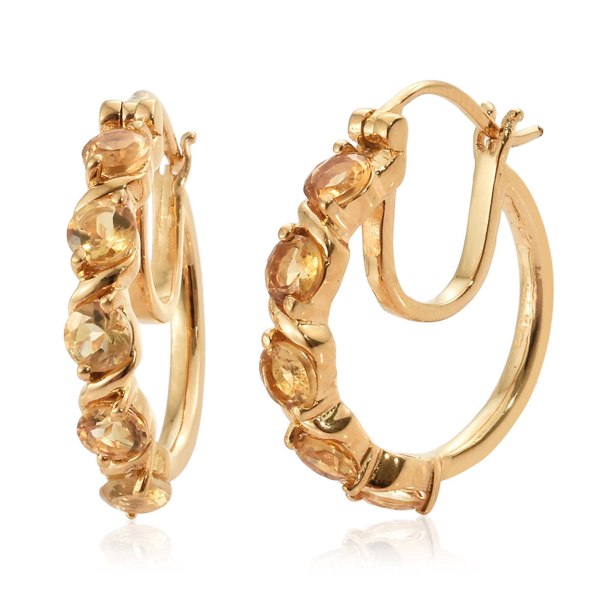 27ccfffff KARIS Collection - Brazilian Citrine ION Plated 18K YG Brass 5 Stone Hoop  Earrings TGW 2.40 cts. | Shop LC