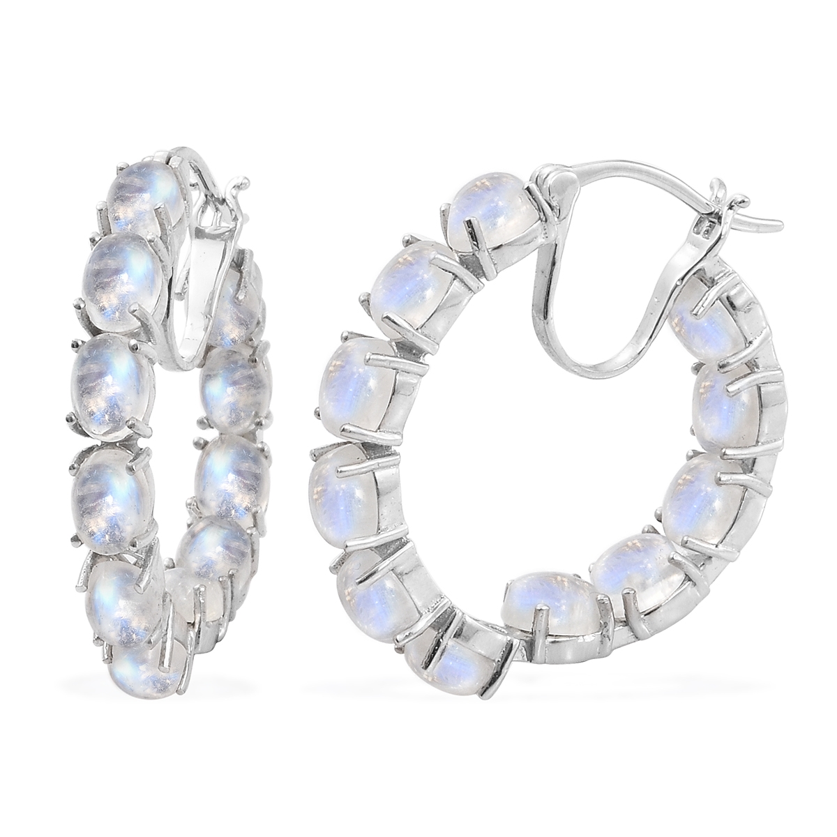 a3d3acf5f14bd Rainbow Moonstone Platinum Over Sterling Silver Inside Out Hoop Earrings  TGW 26.40 cts.
