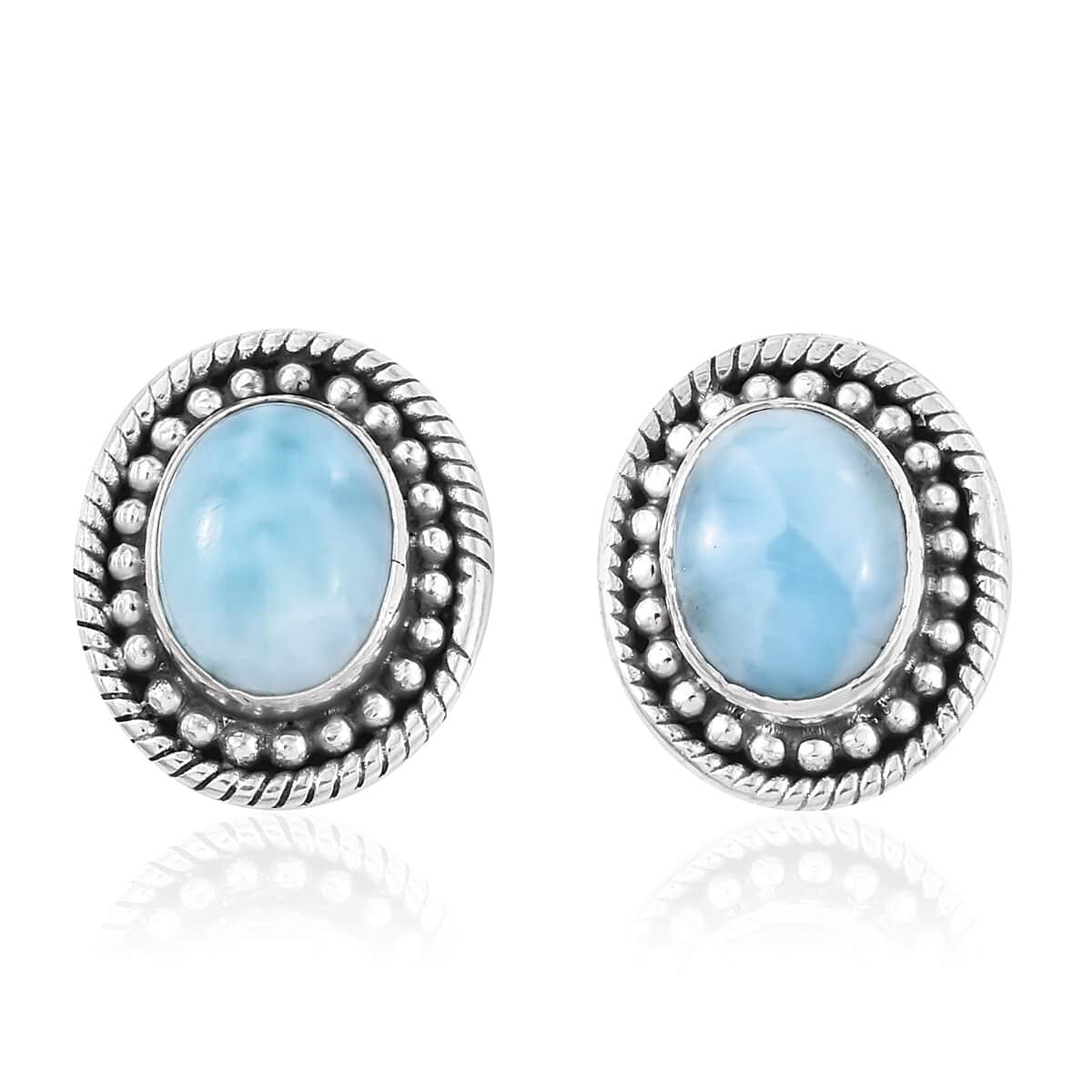 47e6b2e2a Larimar Sterling Silver Halo Stud Earrings TGW 3.95 cts. | Shop LC