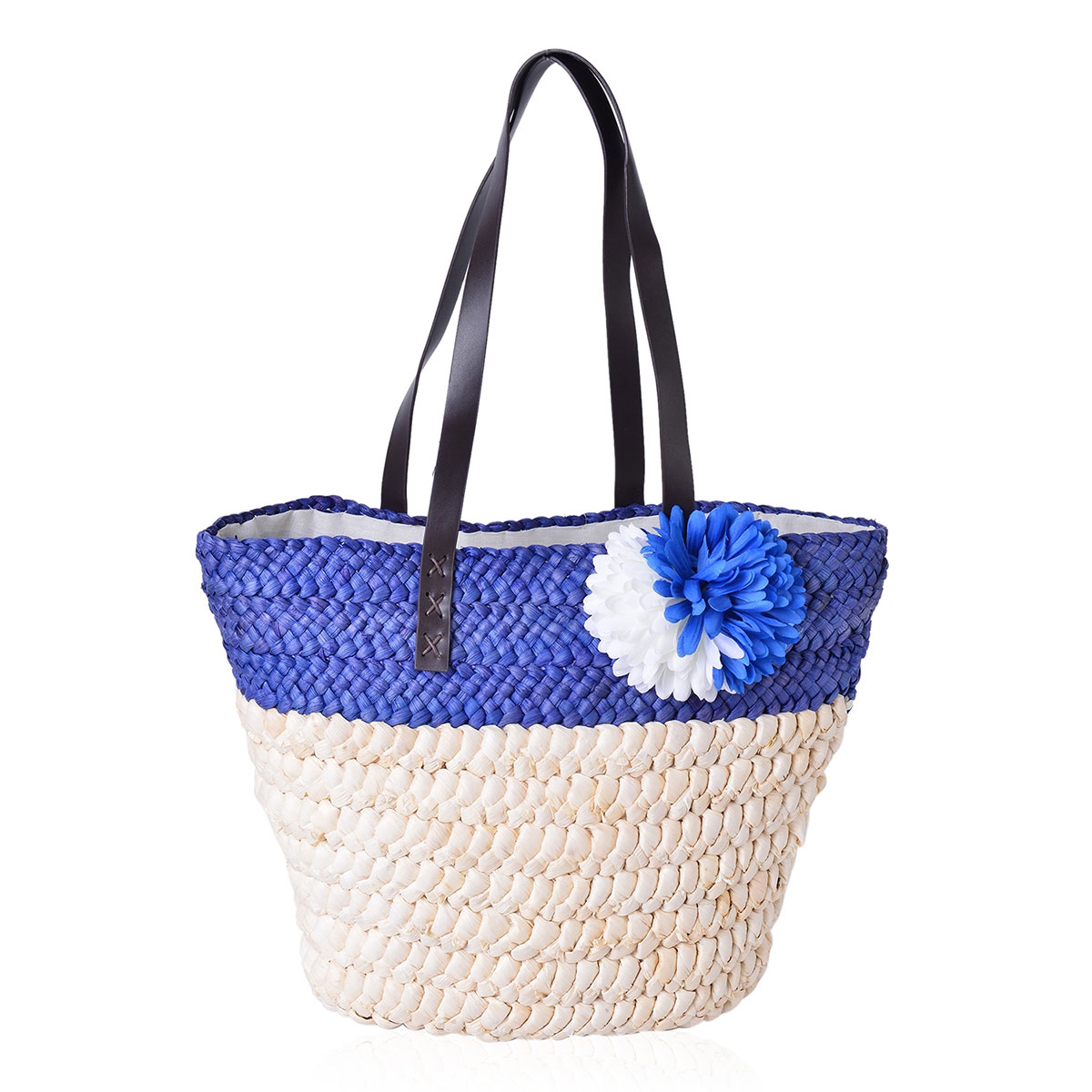Blue Straw Flower Beach Tote with Faux Leather Strap (11.5x5x12 in)