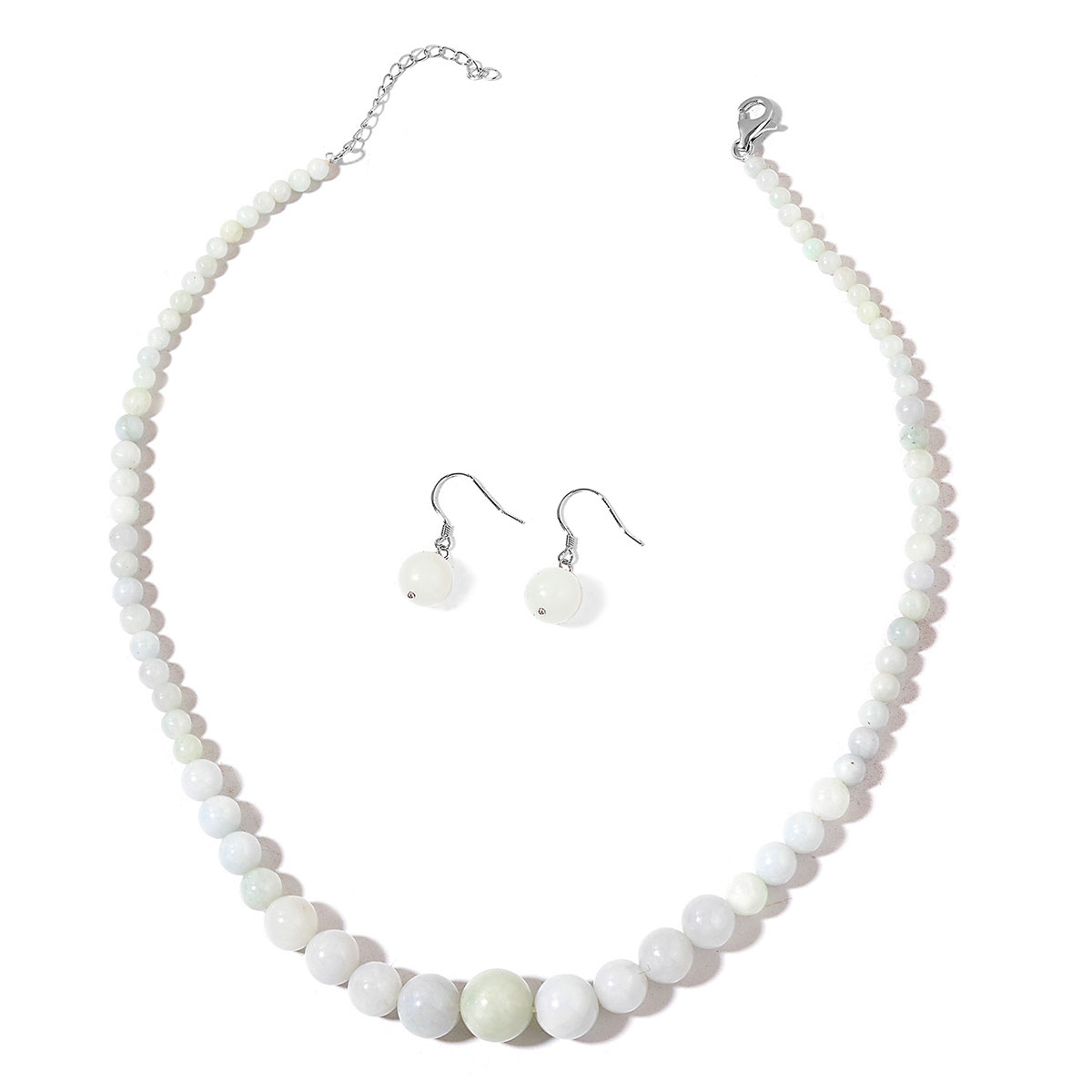 Burmese White Jade Sterling Silver Earrings And Beaded Necklace 18 In 226 00 Ctw