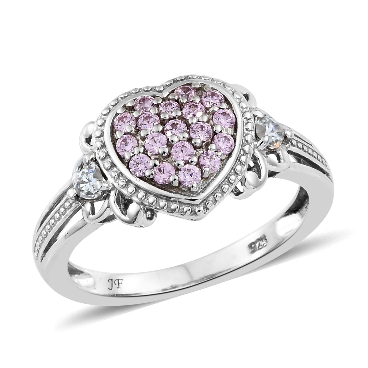 51dfae8b2 J Francis - Platinum Over Sterling Silver Mini Cluster Heart Ring Made with  Pink and White SWAROVSKI ZIRCONIA (Size 8.0) TGW 1.15 cts. | Shop LC